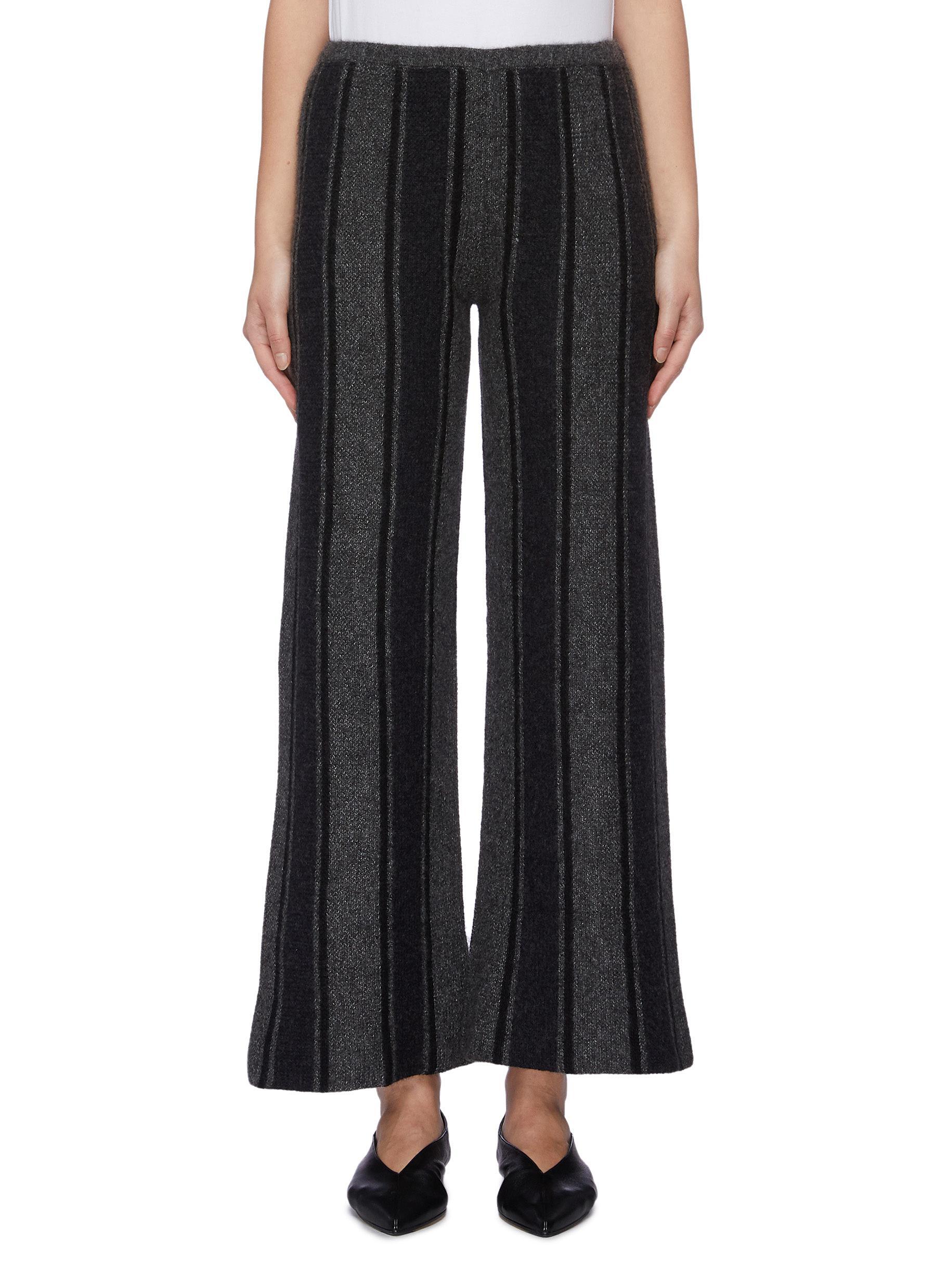 Culotta stripe cashmere-silk knit wide leg pants by The Row