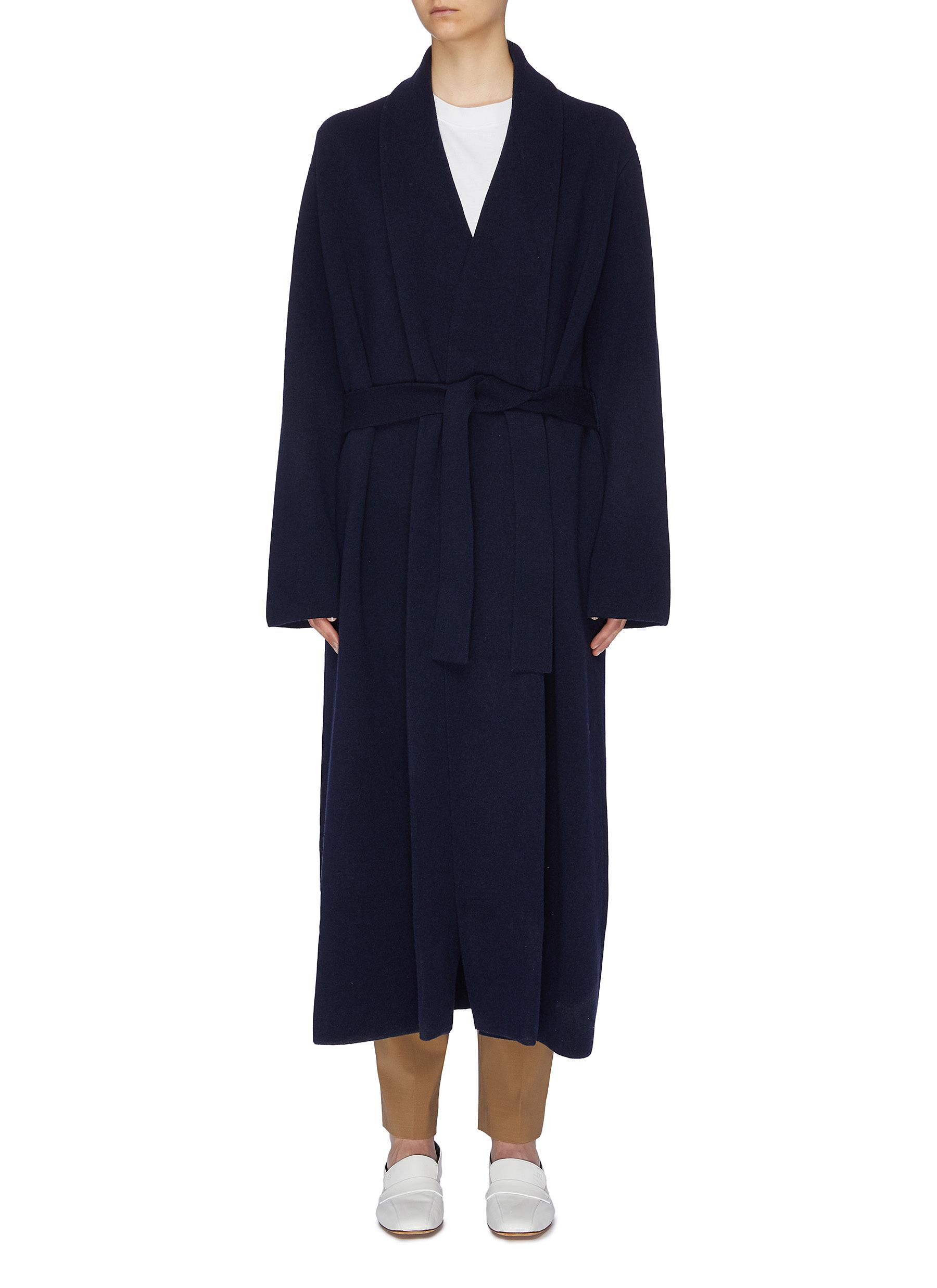 Hera belted Merino wool blend long cardigan by The Row