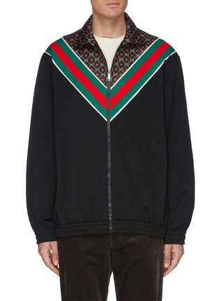 Main View - Click To Enlarge - GUCCI - GG logo star print Web stripe chevron jacket
