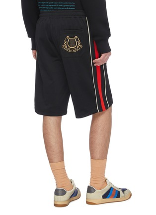 Back View - Click To Enlarge - GUCCI - 'Gucci Band' logo embroidered web striped outseam basketball shorts