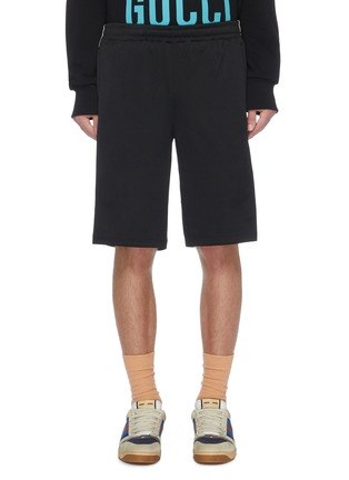 Main View - Click To Enlarge - GUCCI - 'Gucci Band' logo embroidered web striped outseam basketball shorts