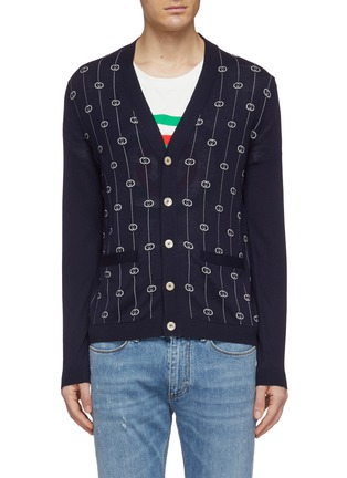 Main View - Click To Enlarge - GUCCI - GG logo stripe jacquard cardigan