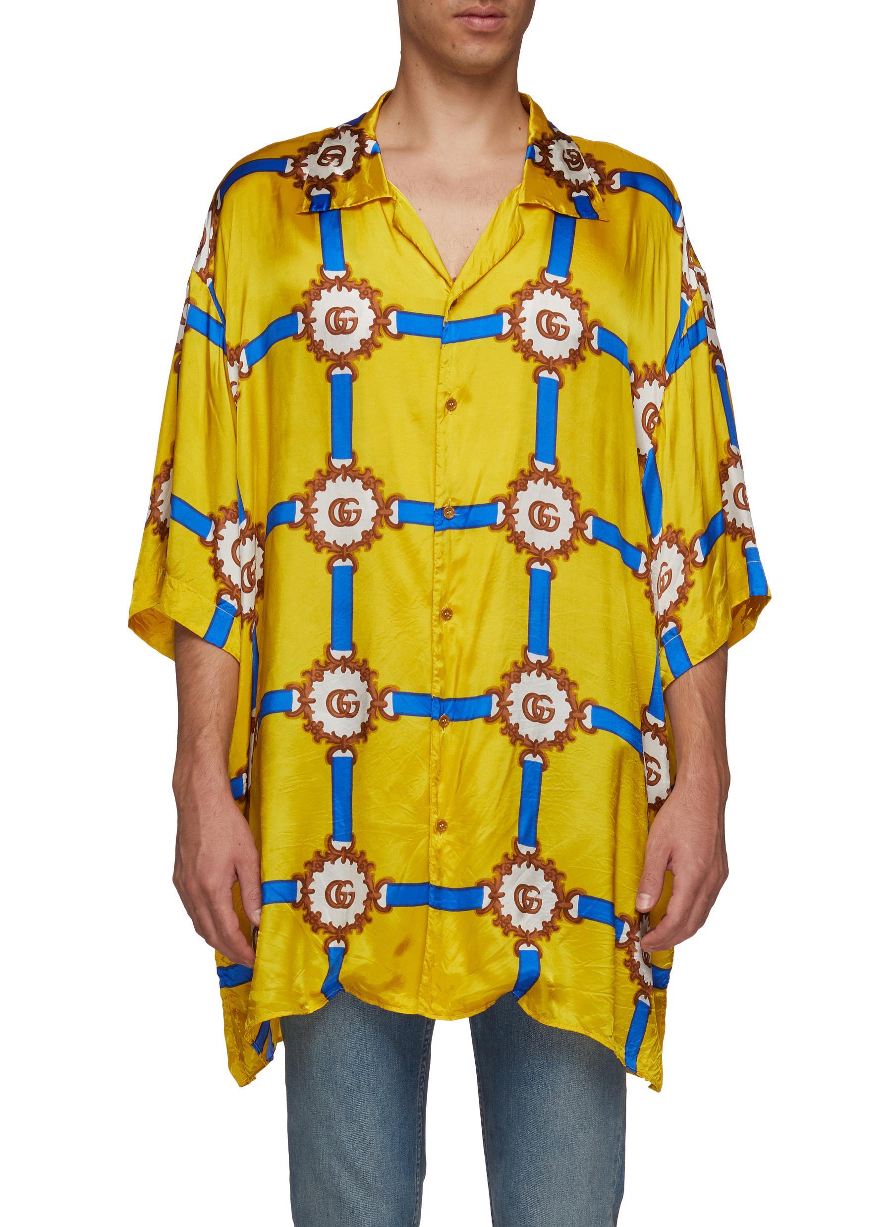 e1865dd1da4b GUCCI | GG logo harness print oversized bowling shirt | Men | Lane ...