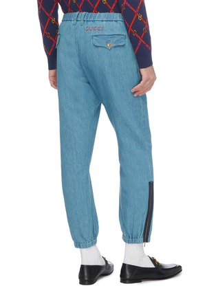 Back View - Click To Enlarge - GUCCI - Logo embroidered zip cuff jogging pants