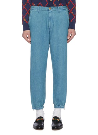 Main View - Click To Enlarge - GUCCI - Logo embroidered zip cuff jogging pants