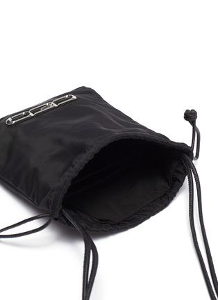 Detail View - Click To Enlarge - ALEXANDERWANG - 'Ryan' slogan appliqué mini drawstring bag