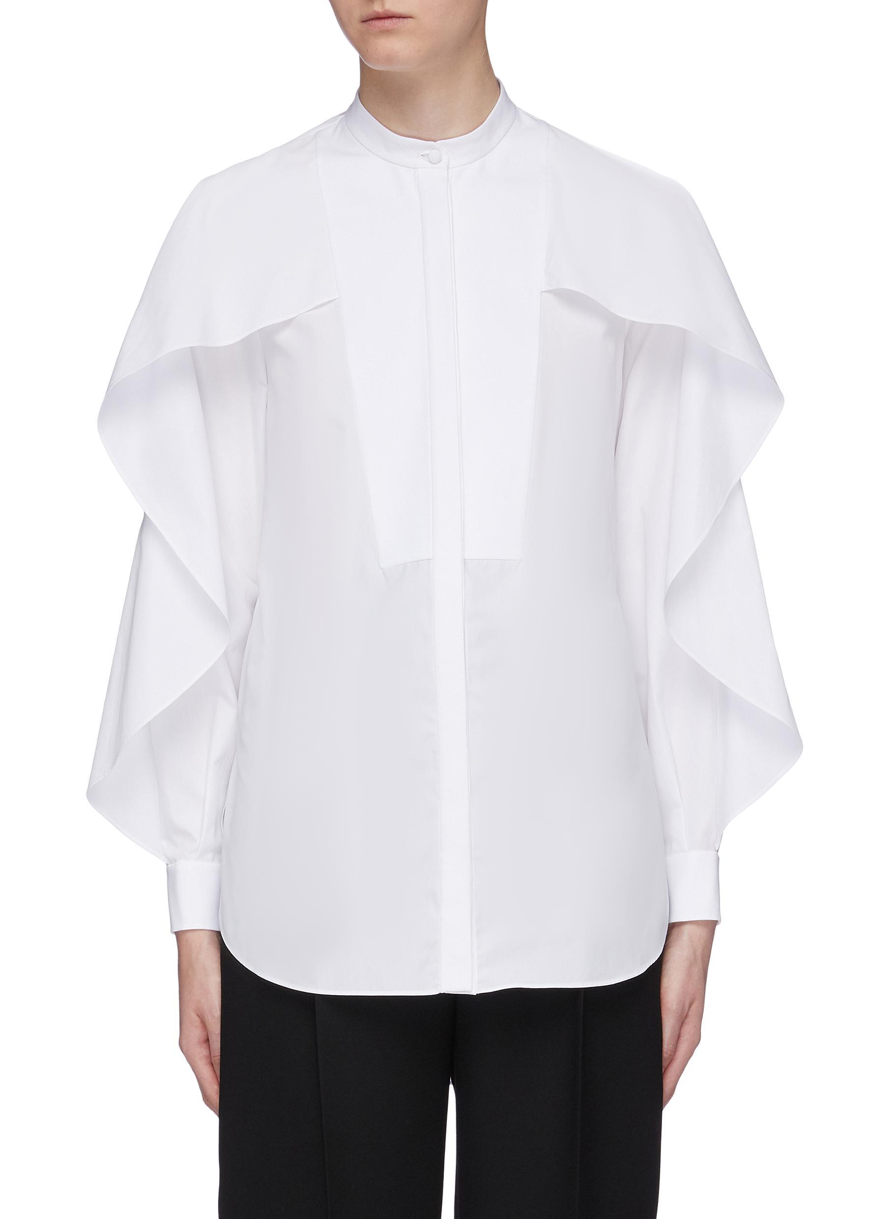 Layered ruffle sleeve bib shirt by Alexander Mcqueen