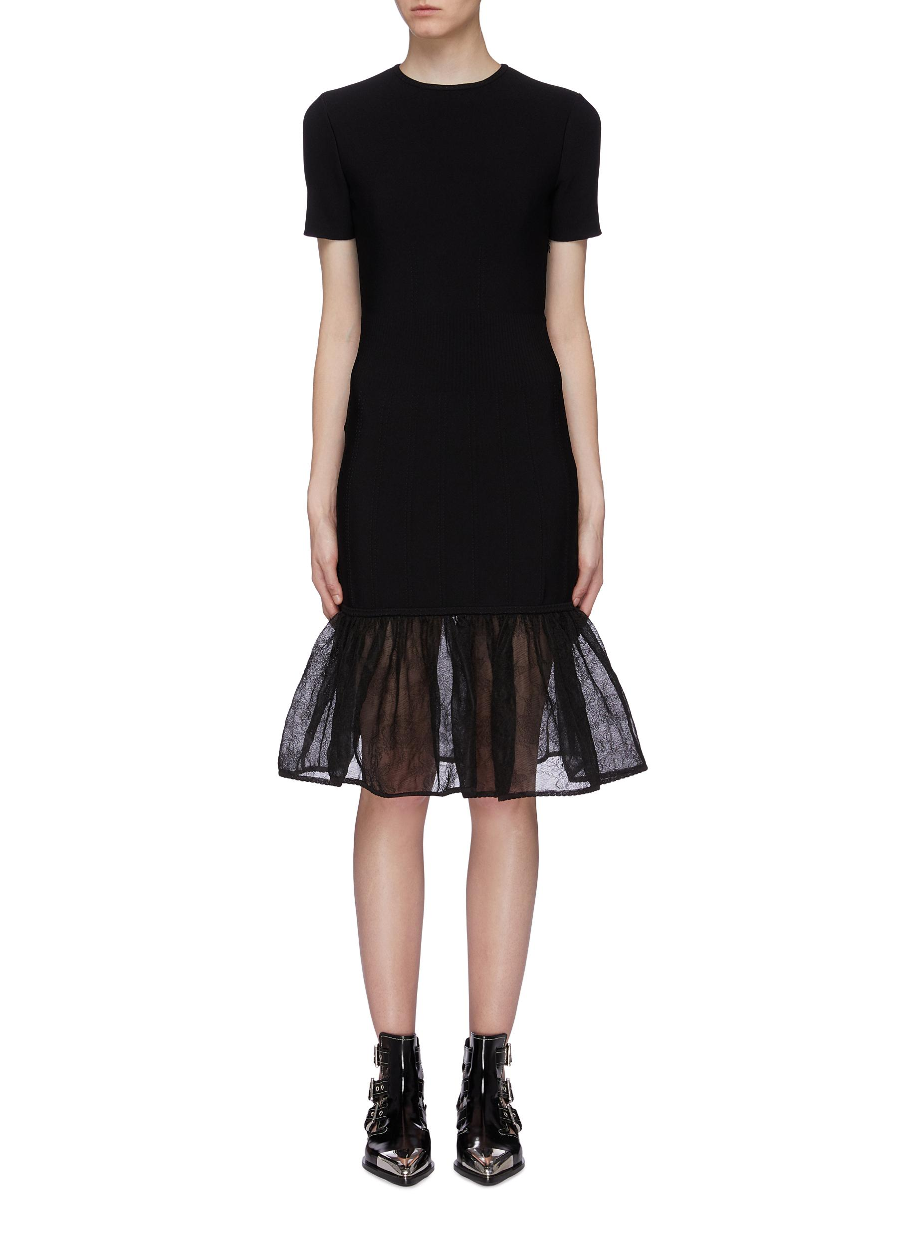 Sheer peplum dress by Alexander Mcqueen