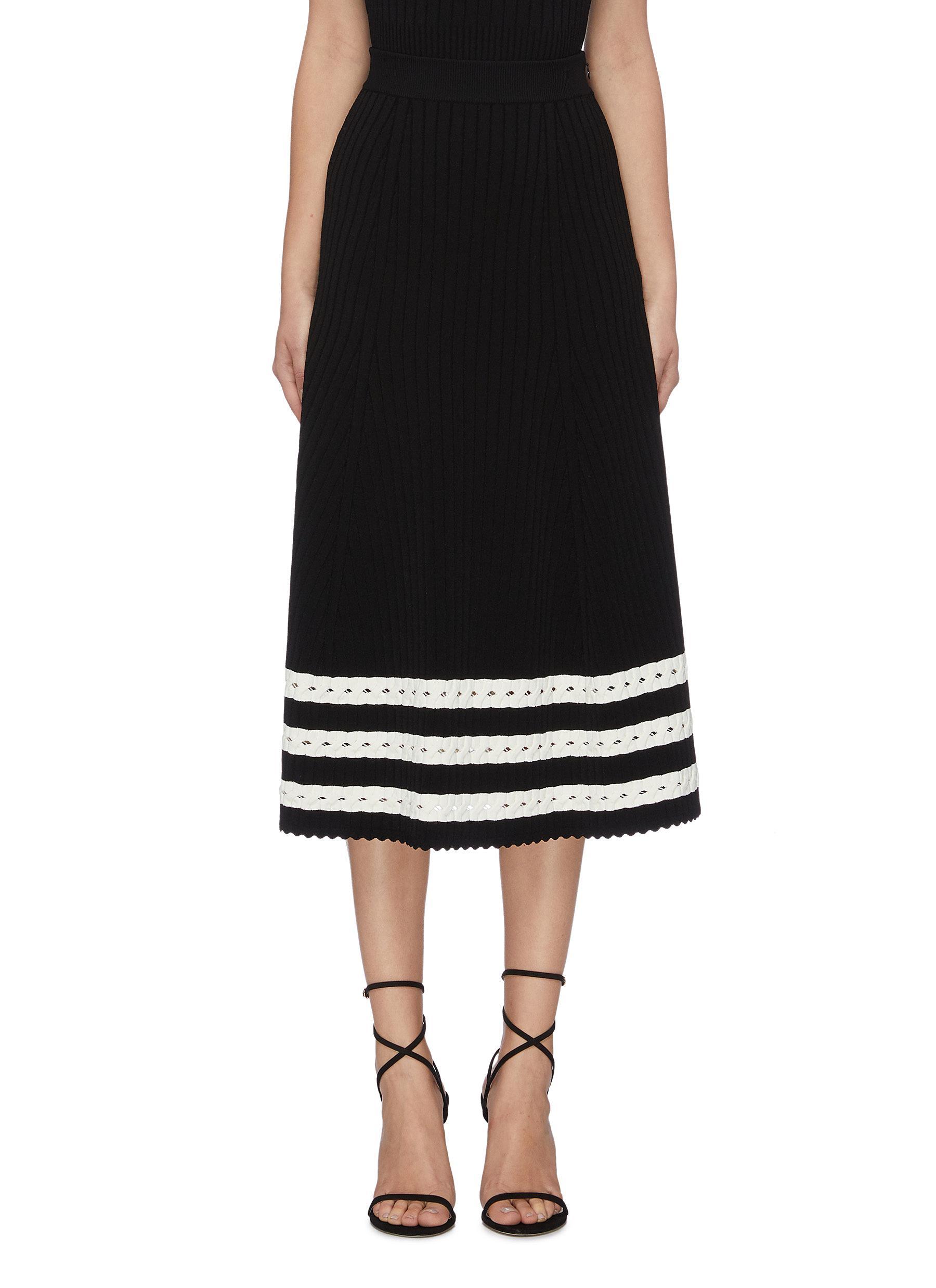 Cutout stripe hem mix knit skirt by Alexander Mcqueen