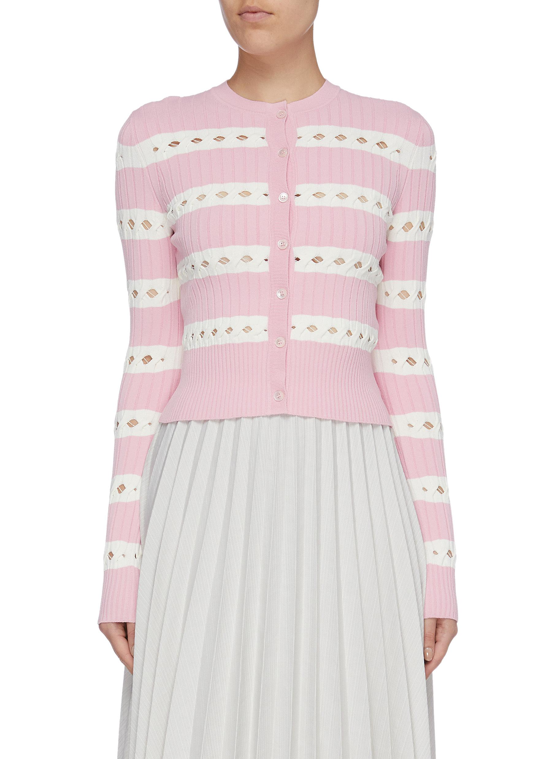 Cutout stripe mix knit cardigan by Alexander Mcqueen