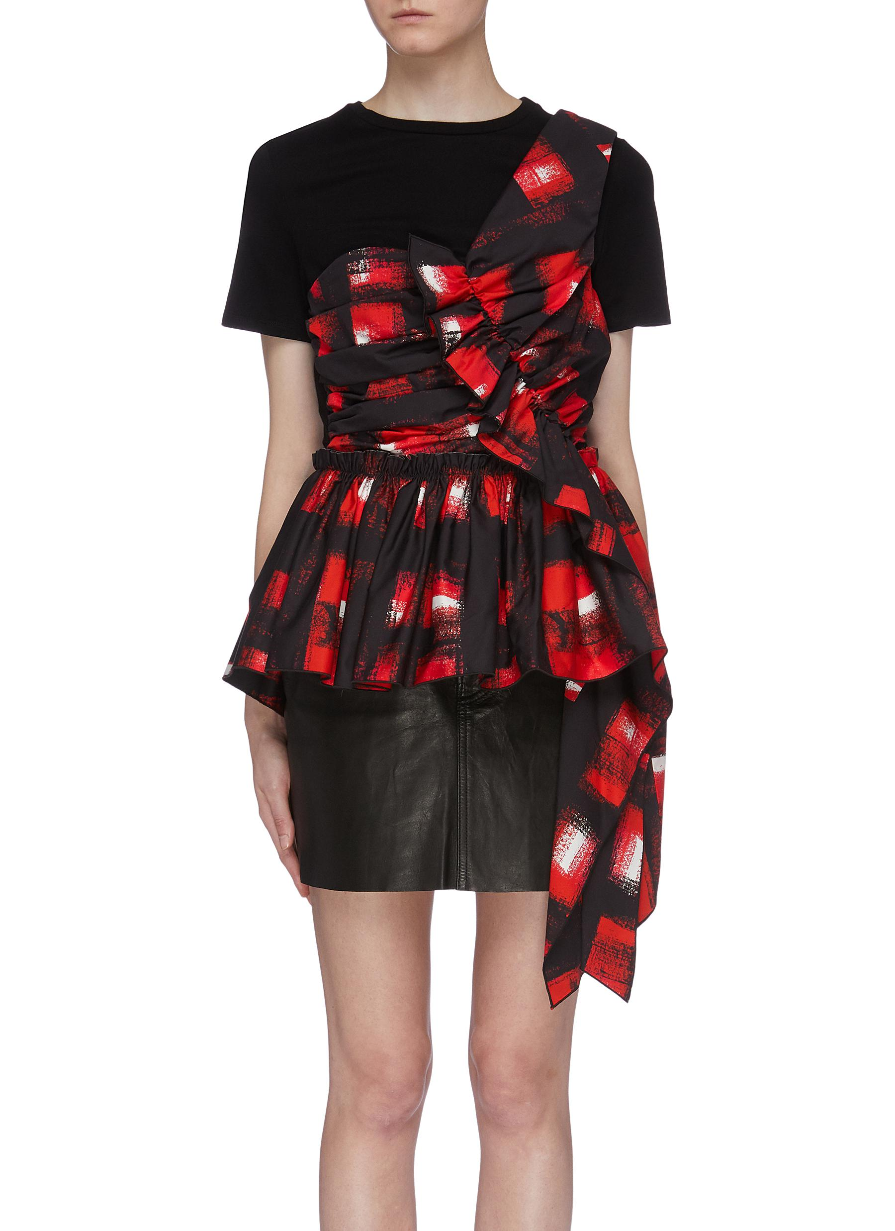 Asymmetric drape abstract check print peplum panel T-shirt by Alexander Mcqueen