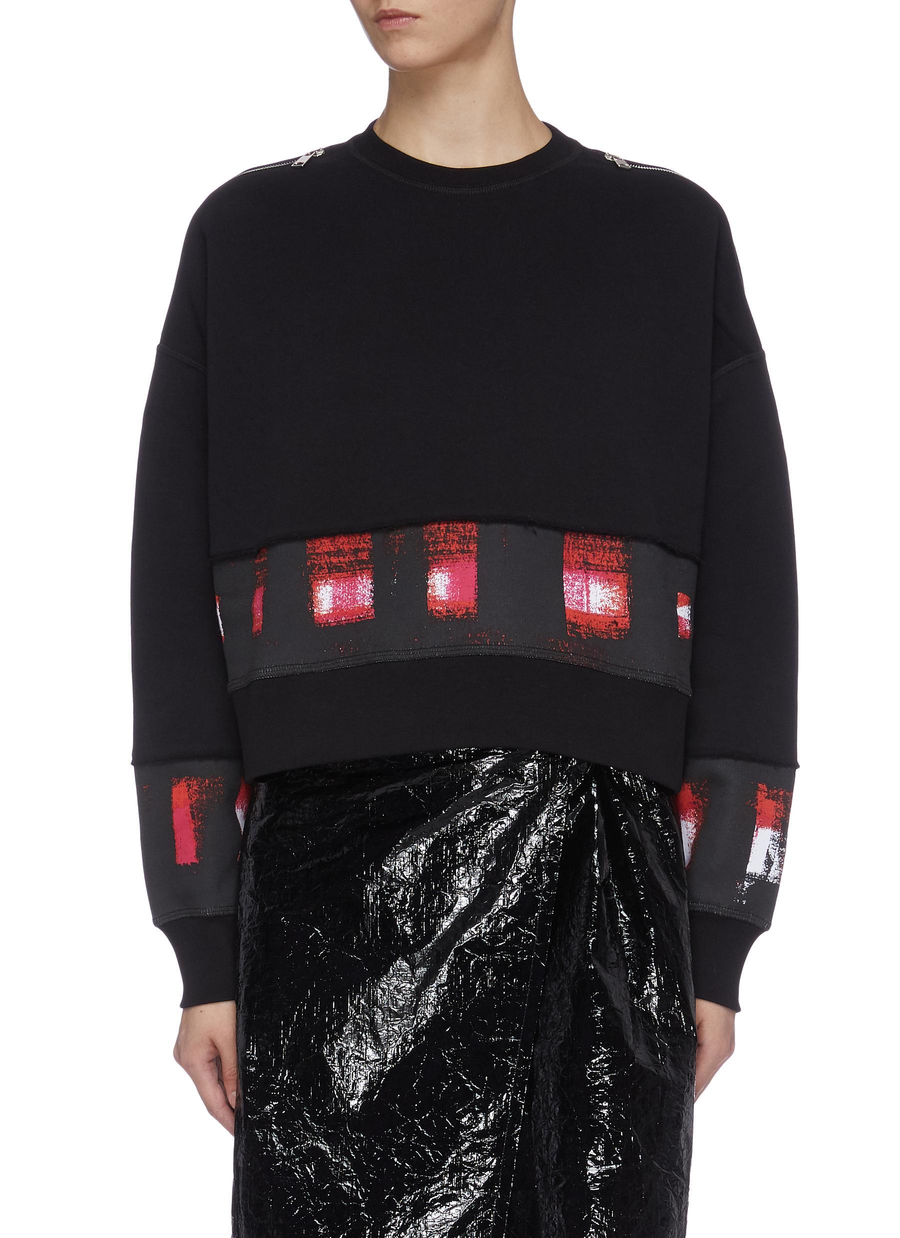 Abstract check print panel zip shoulder sweatshirt by Alexander Mcqueen