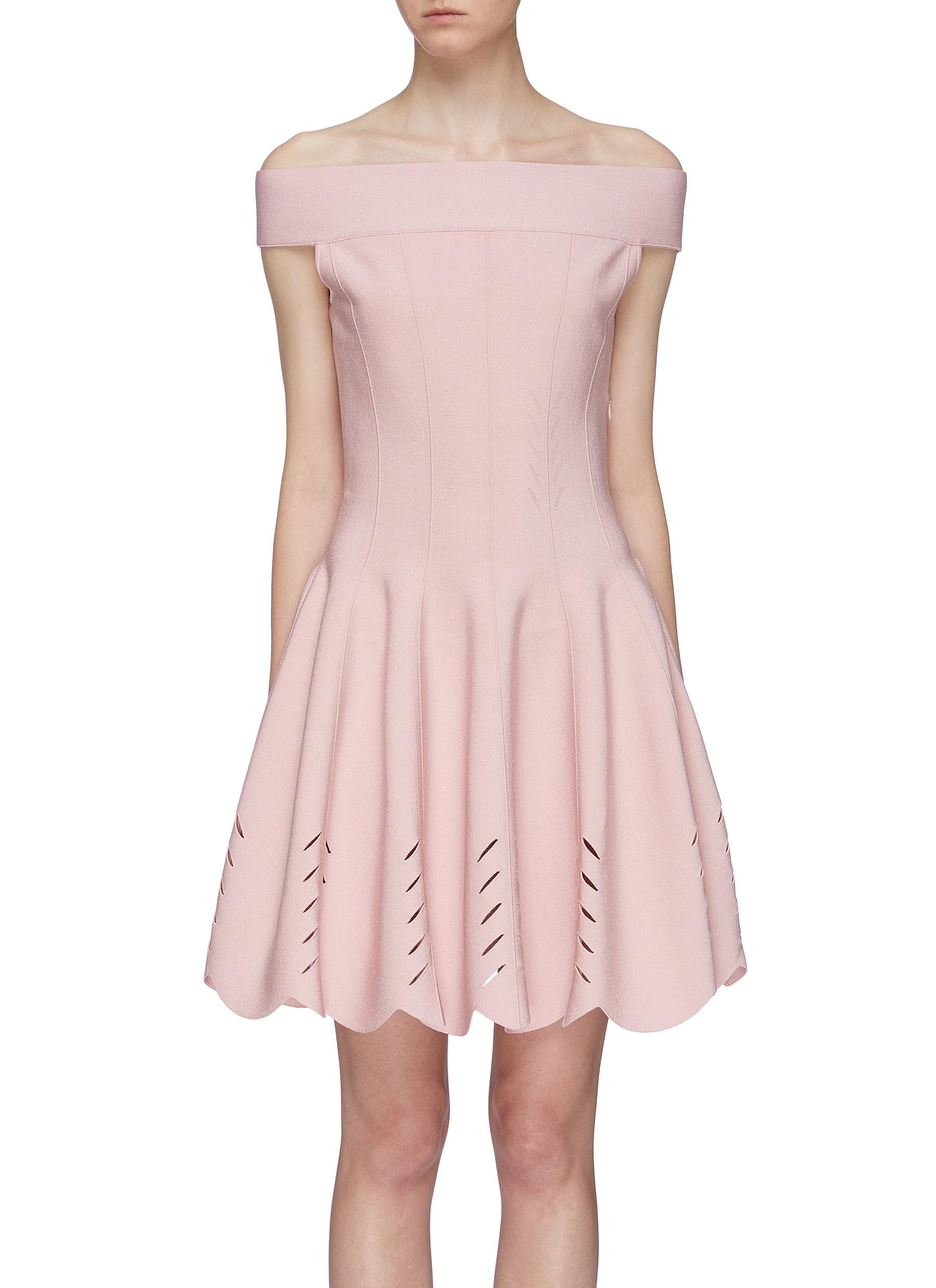 Darted cutout scalloped hem off-shoulder dress by Alexander Mcqueen
