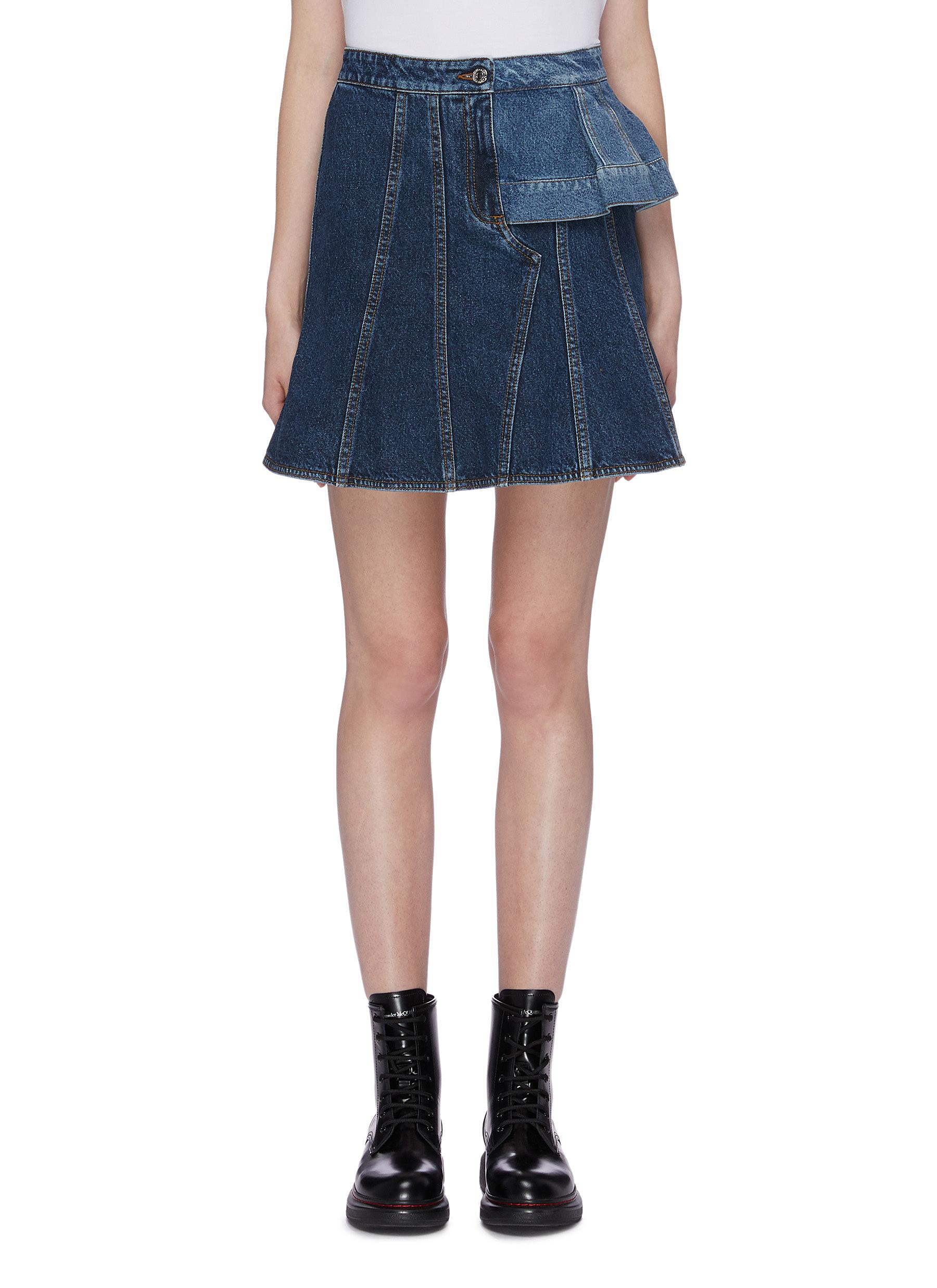 Asymmetric layered panel flared denim skirt by Alexander Mcqueen