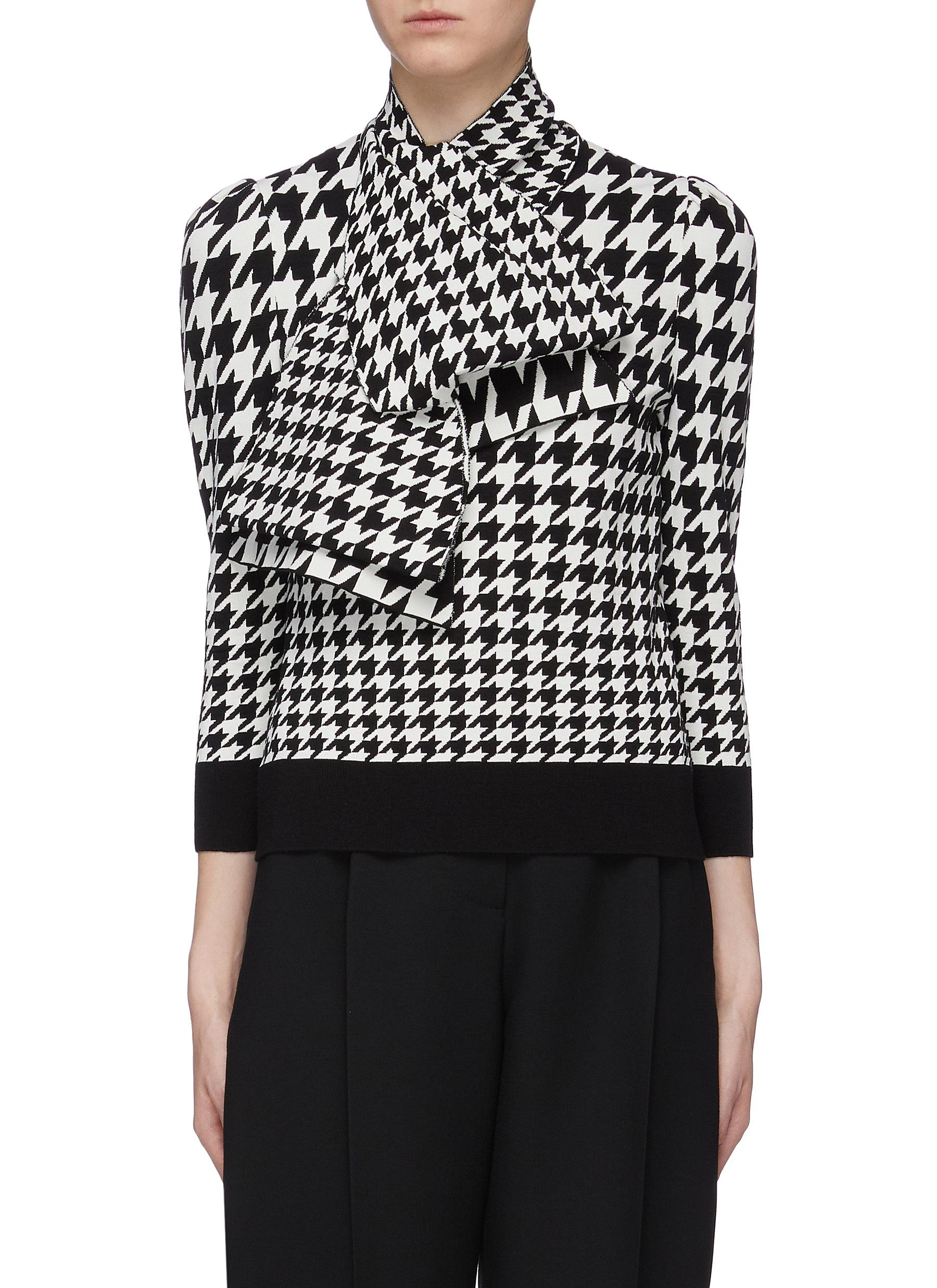 Detachable scarf panel houndstooth knit top by Alexander Mcqueen