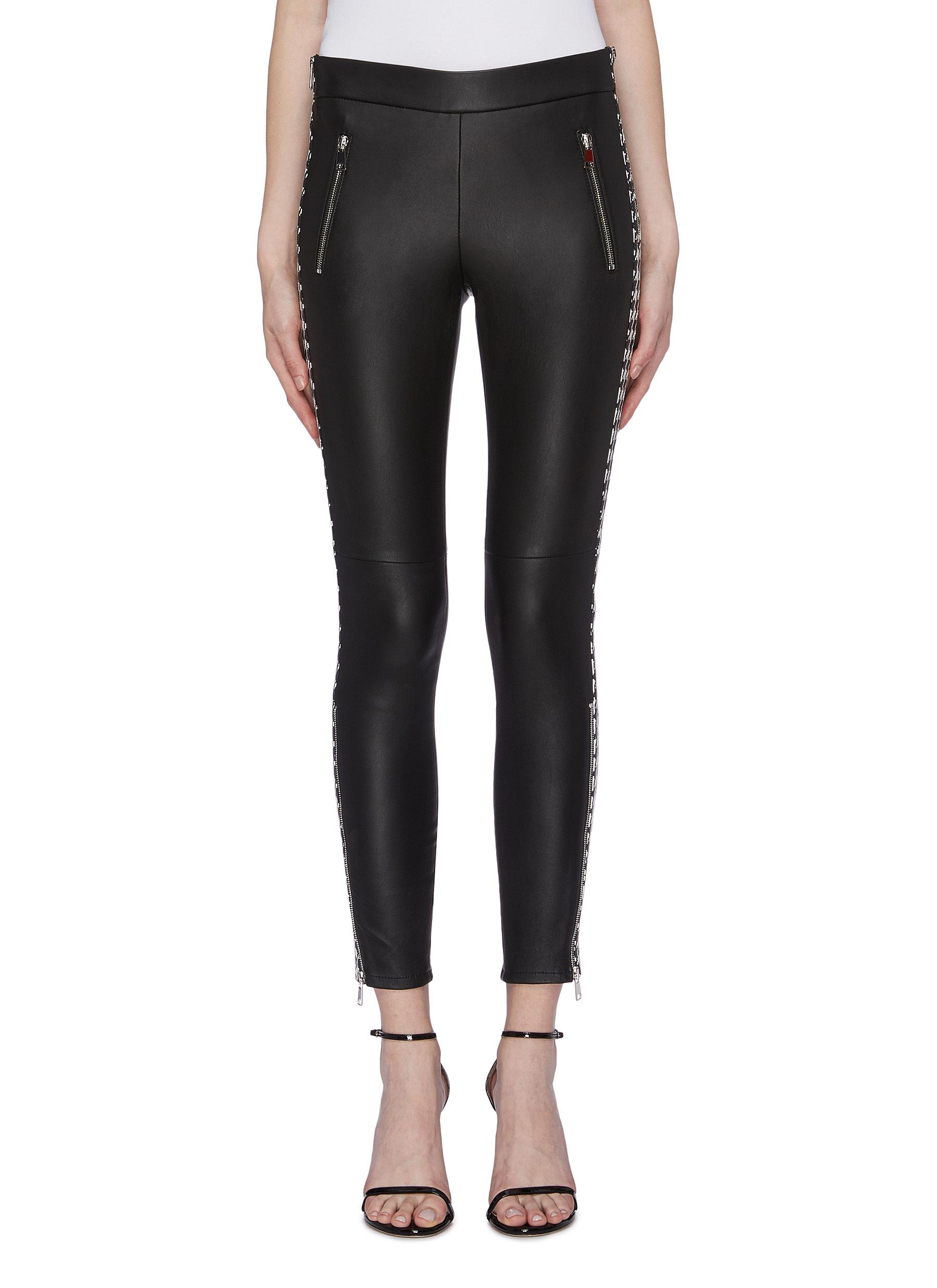 Houndstooth stripe outseam leather pants by Alexander Mcqueen