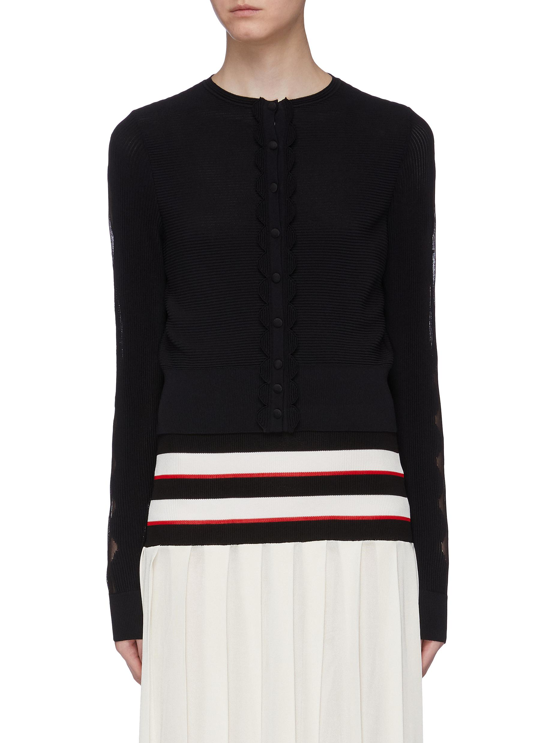 Scalloped dot jacquard trim sleeve rib knit cardigan by Alexander Mcqueen