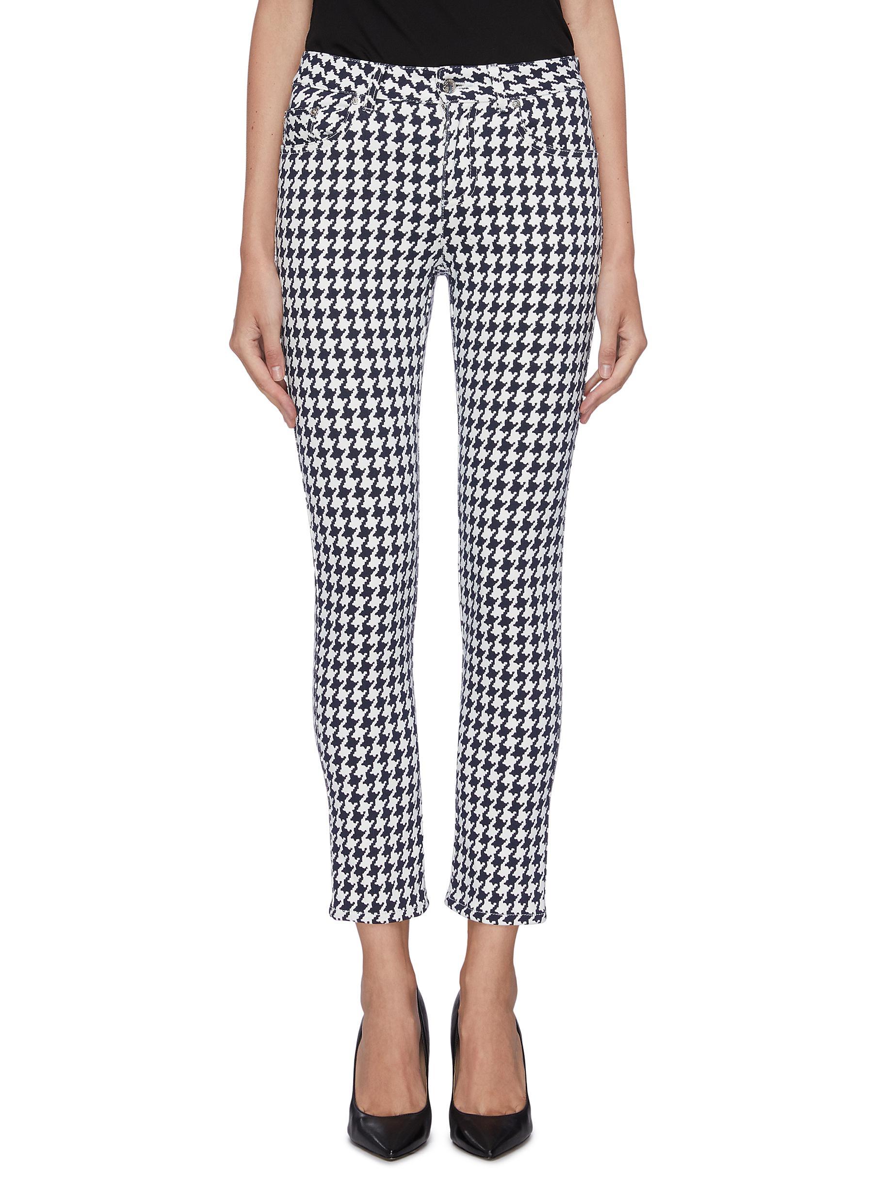 Houndstooth jacquard skinny jeans by Alexander Mcqueen
