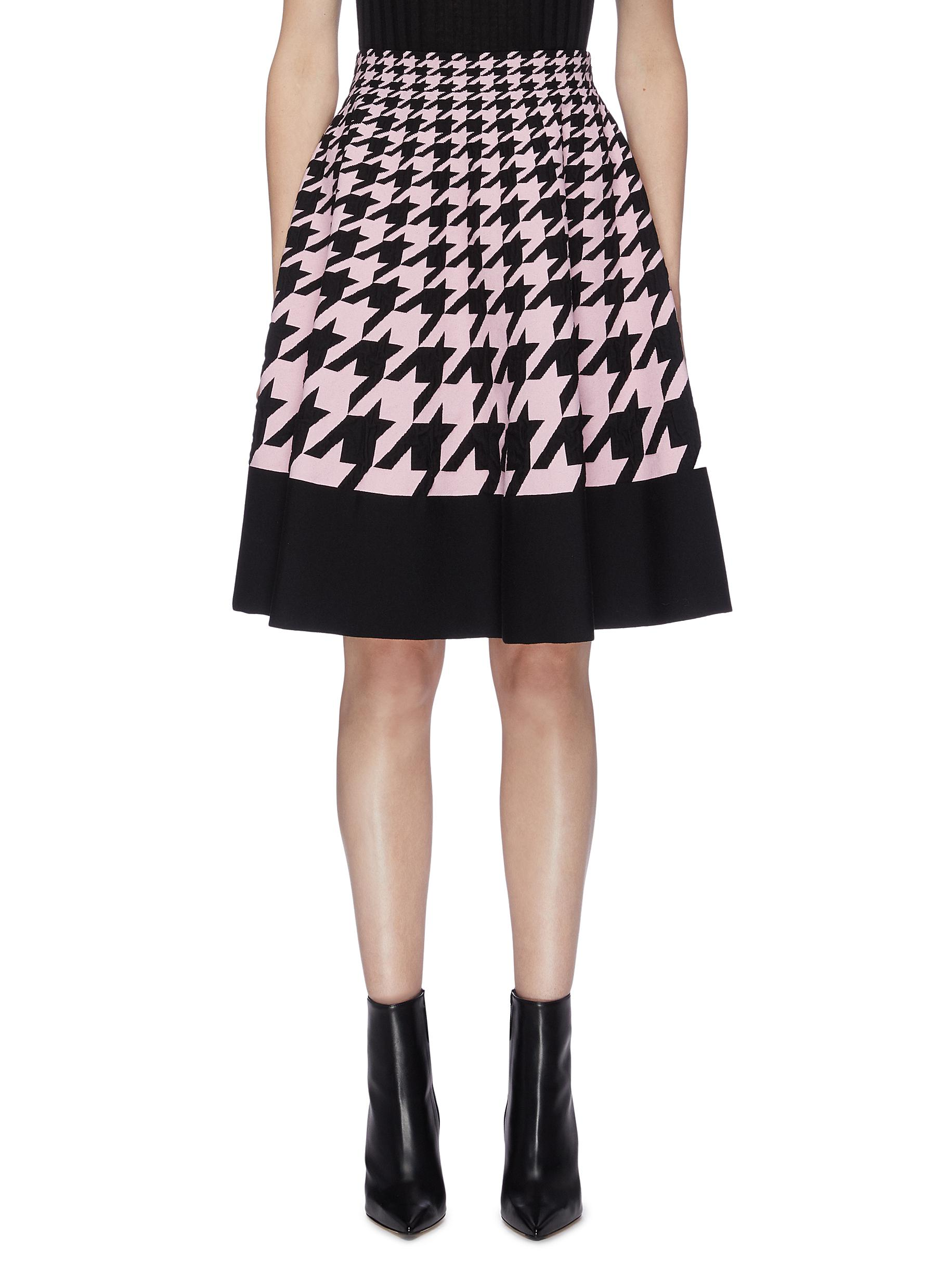 Houndstooth check jacquard pleated skirt by Alexander Mcqueen