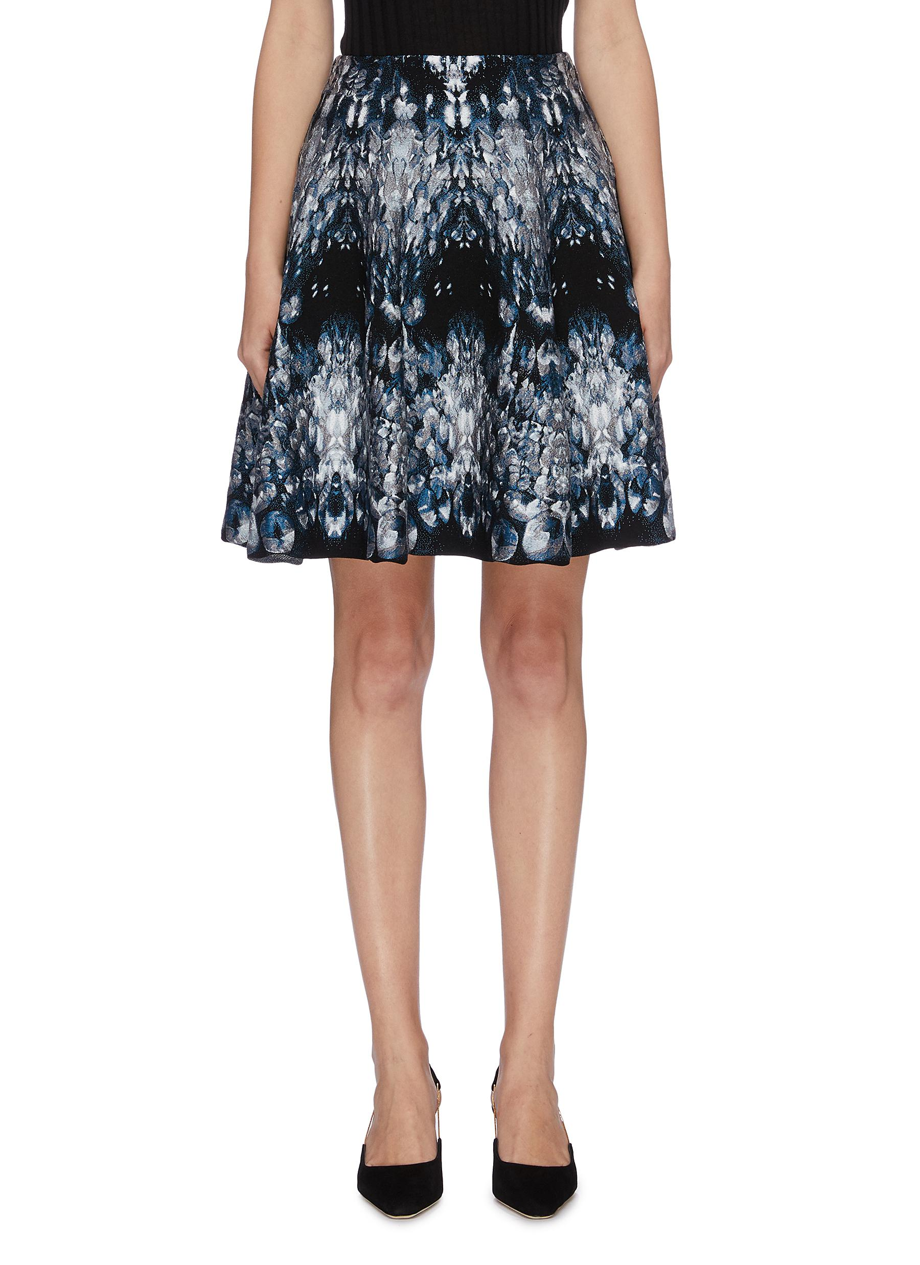 Crystal jacquard flared skirt by Alexander Mcqueen