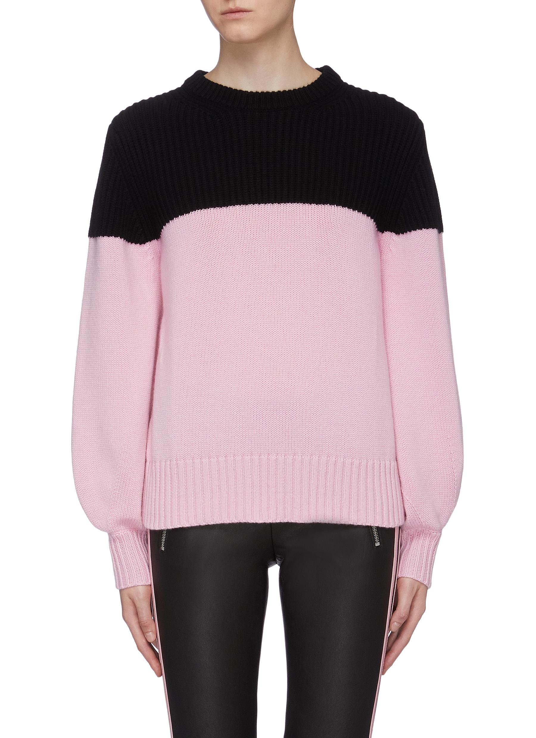 Colourblock rib knit panel cashmere sweater by Alexander Mcqueen