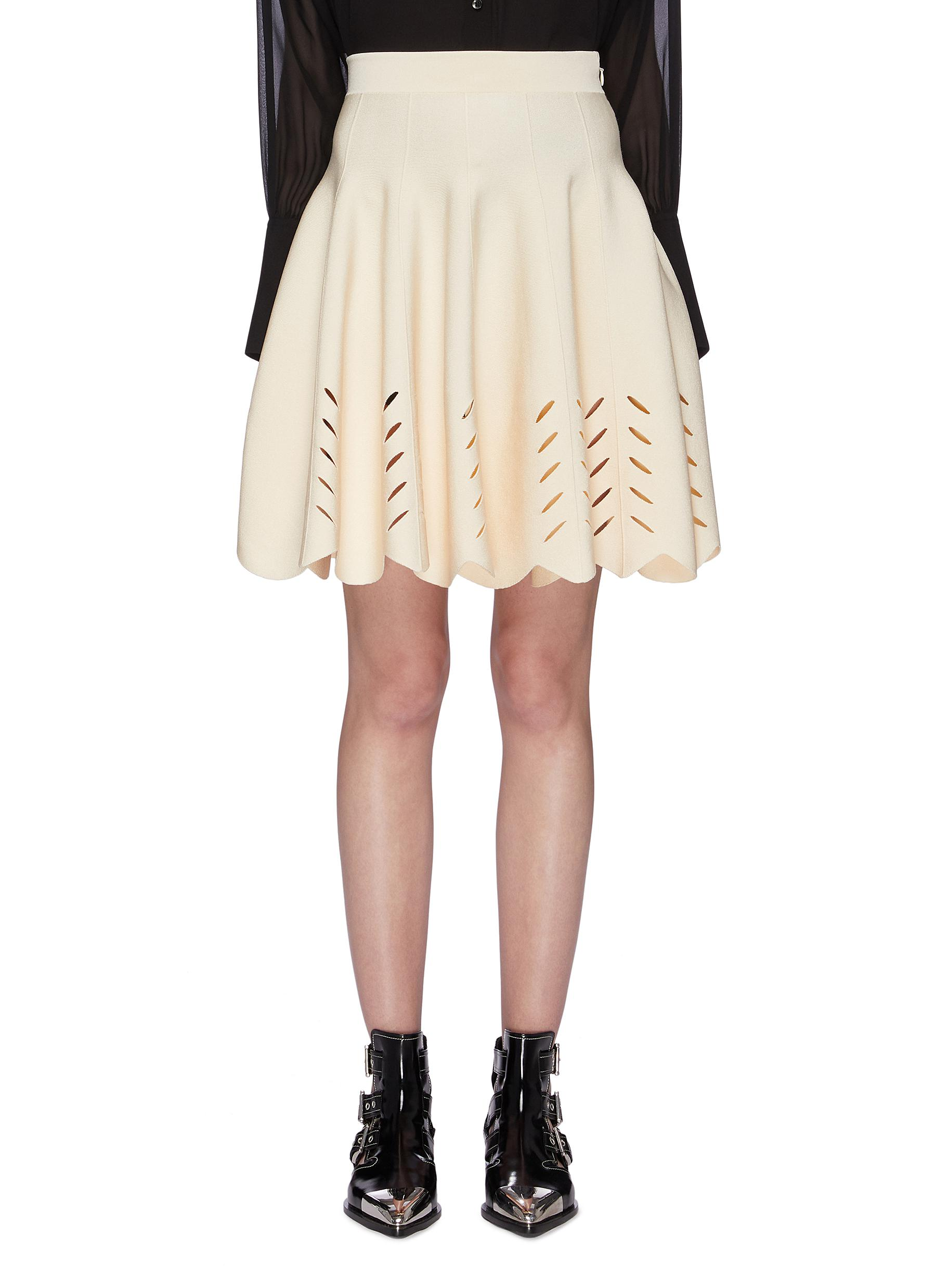Cutout scalloped knit skirt by Alexander Mcqueen