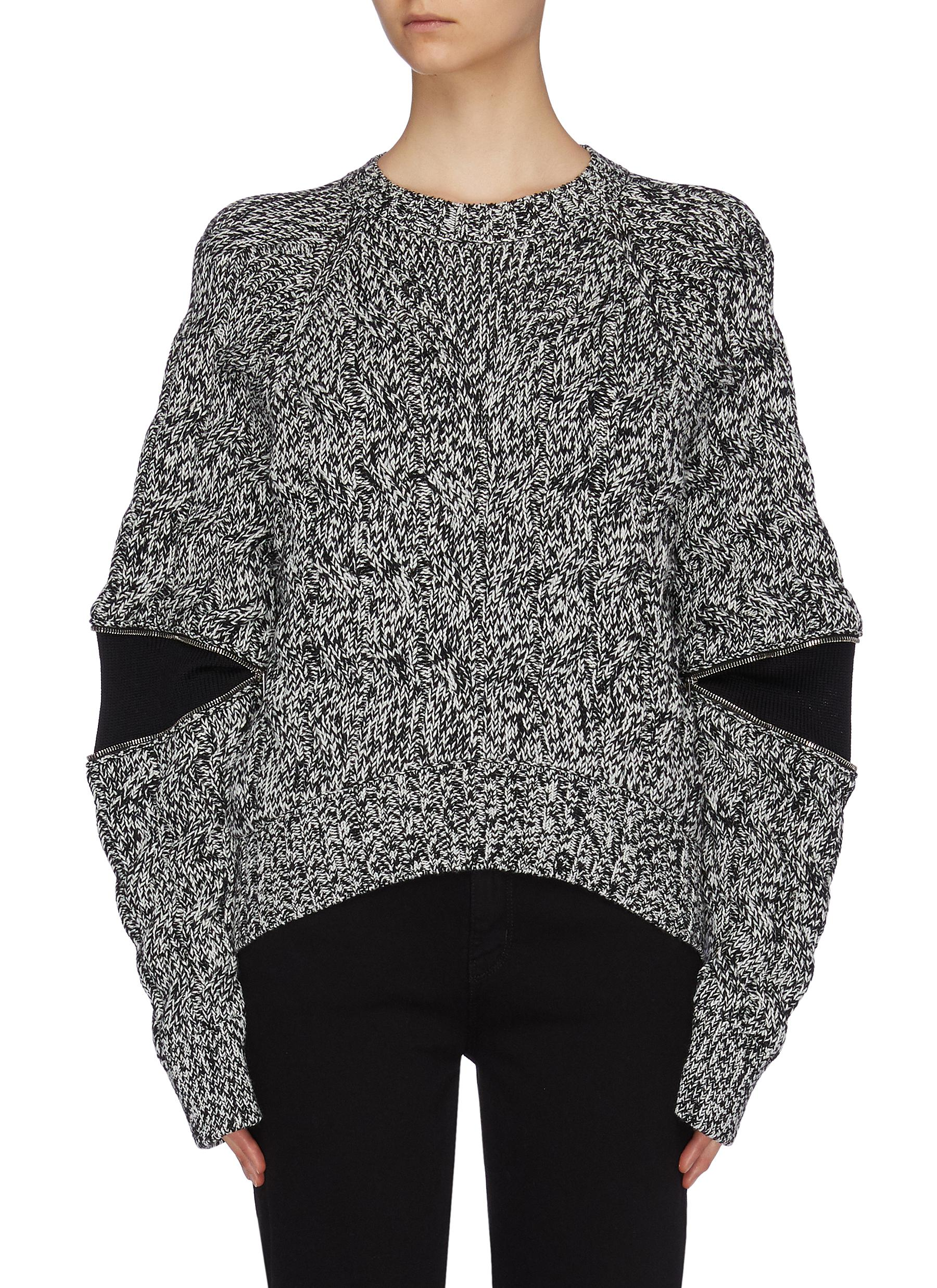 Zip elbow panel marled wool sweater by Alexander Mcqueen
