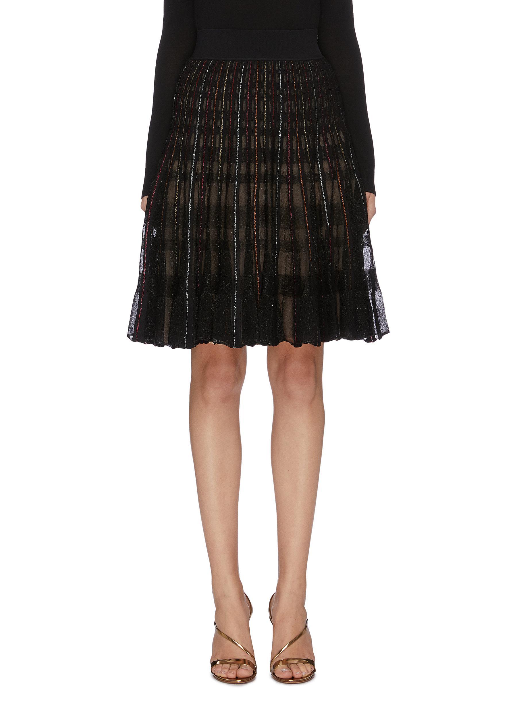Metallic check knit skirt by Alexander Mcqueen