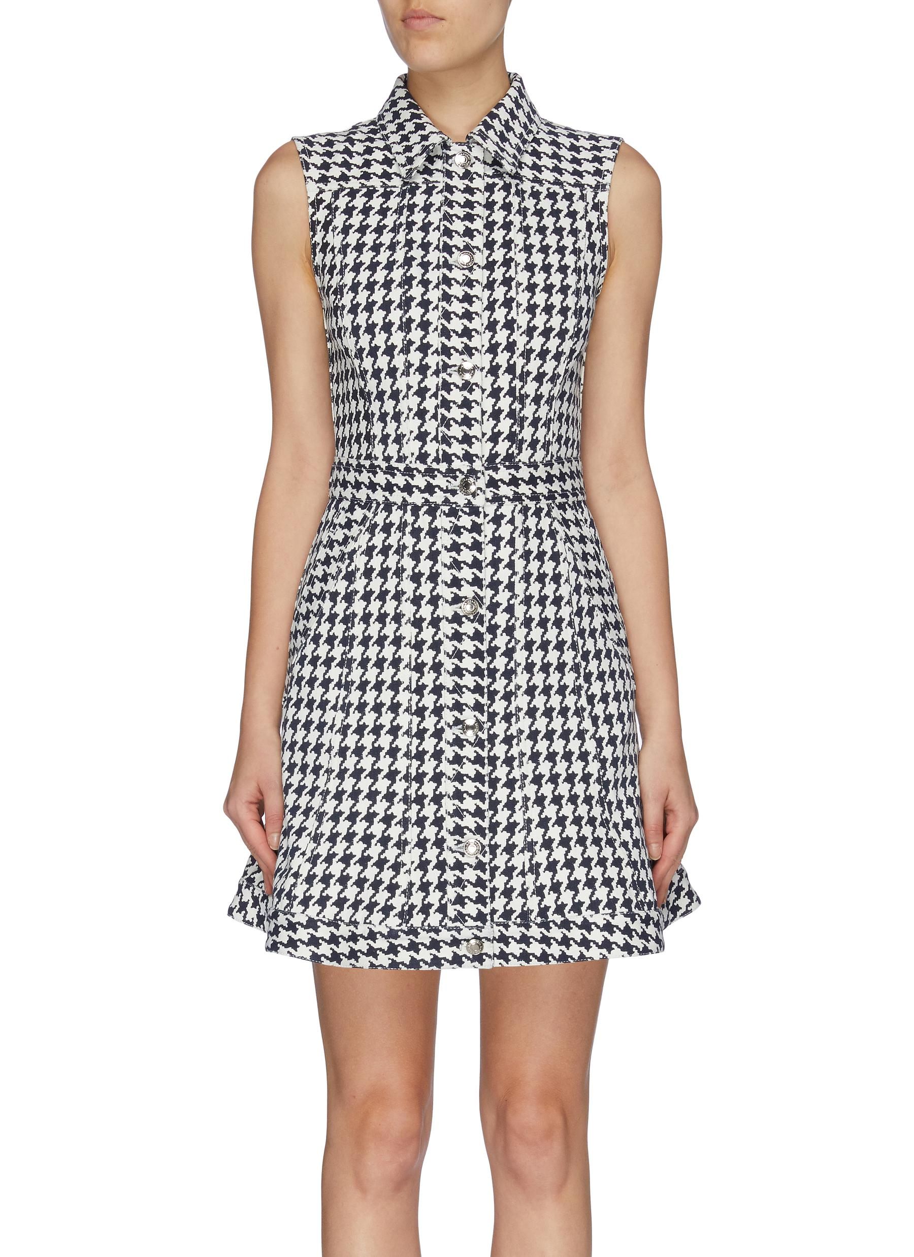 Flared houndstooth jacquard sleeveless denim dress by Alexander Mcqueen