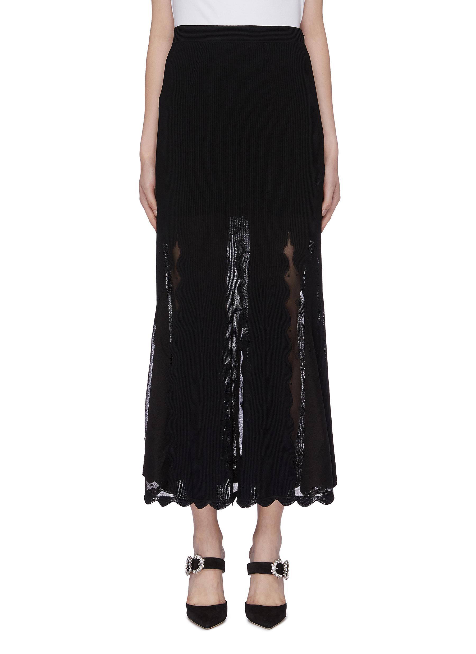 Scalloped mesh panel rib knit skirt by Alexander Mcqueen