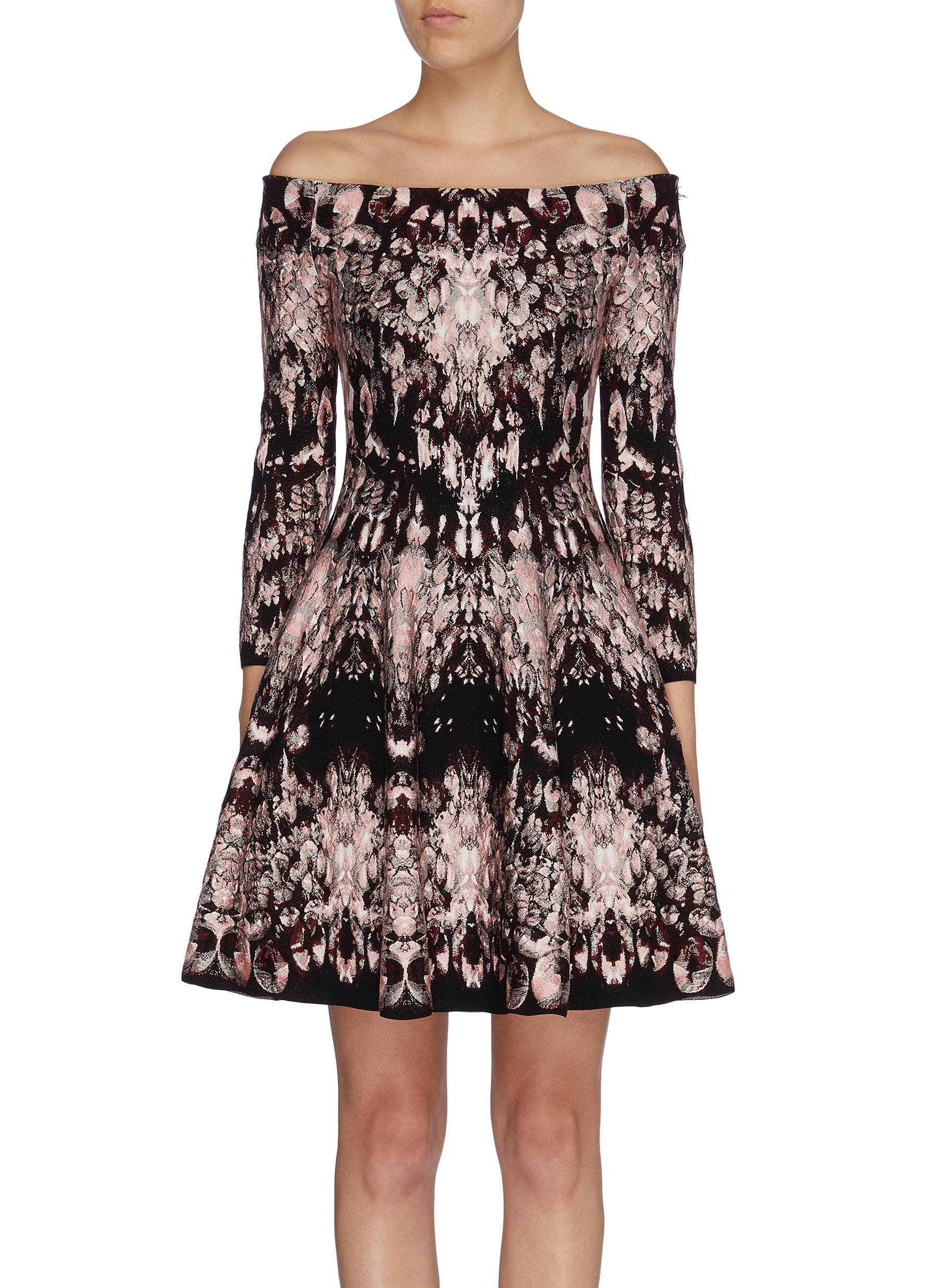 Flared crystal jacquard off-shoulder dress by Alexander Mcqueen
