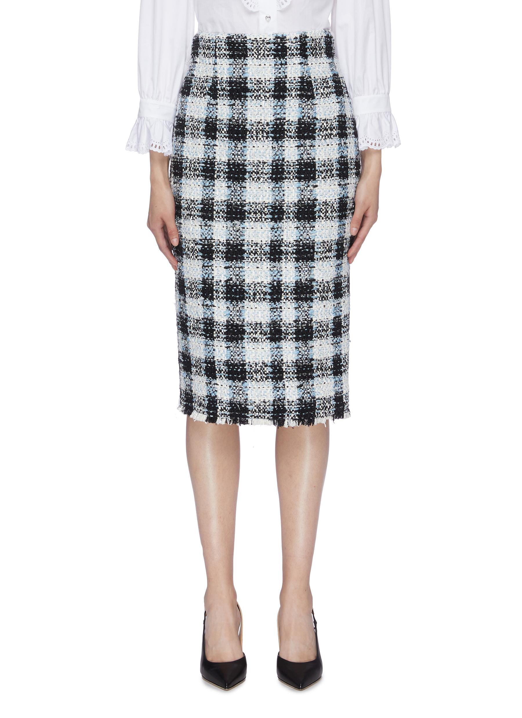 Check plaid tweed skirt by Alexander Mcqueen