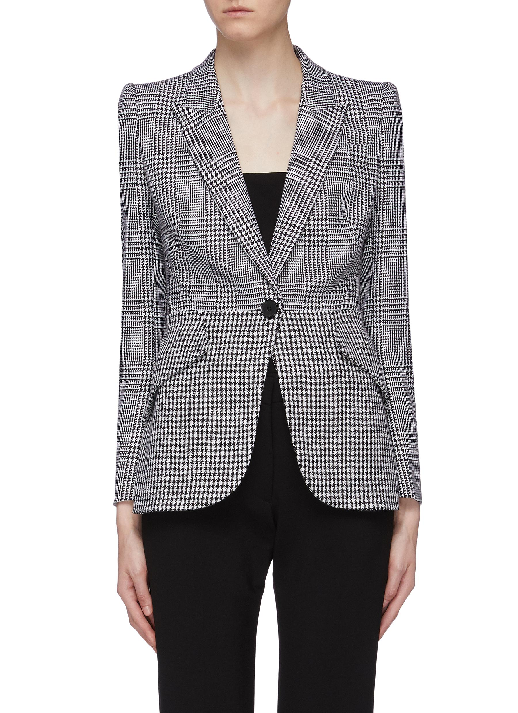 Peaked lapel houndstooth check plaid blazer by Alexander Mcqueen
