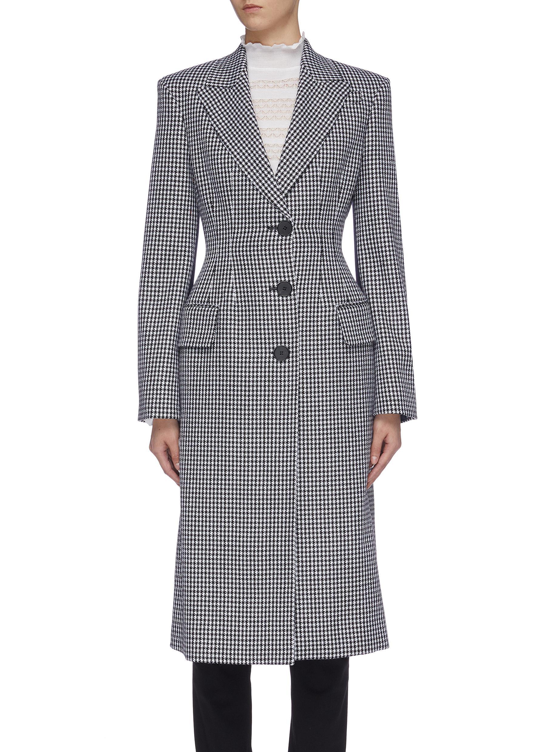 Darted silk back virgin wool houndstooth check coat by Alexander Mcqueen