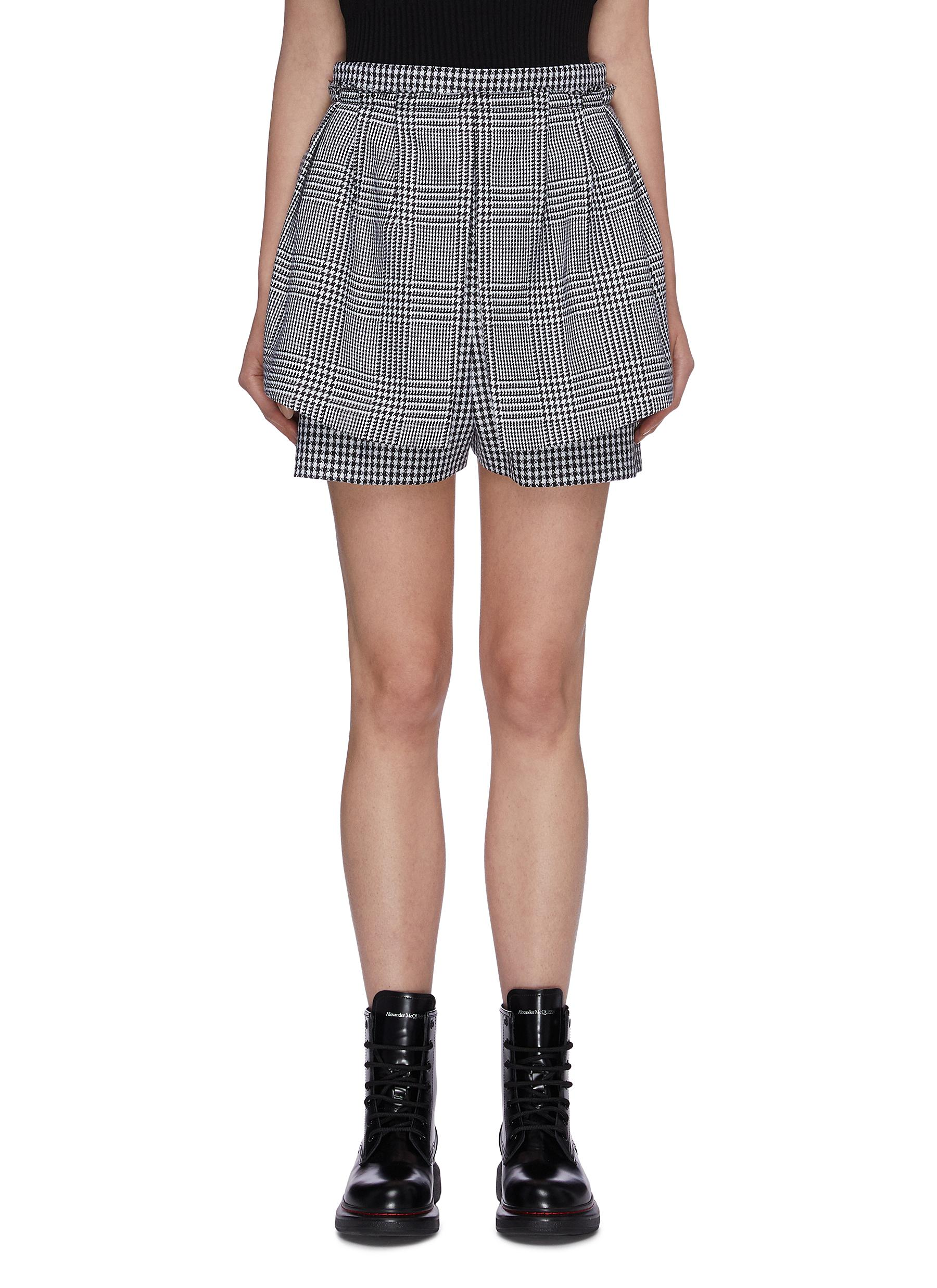 Virgin wool houndstooth check plaid layered shorts by Alexander Mcqueen