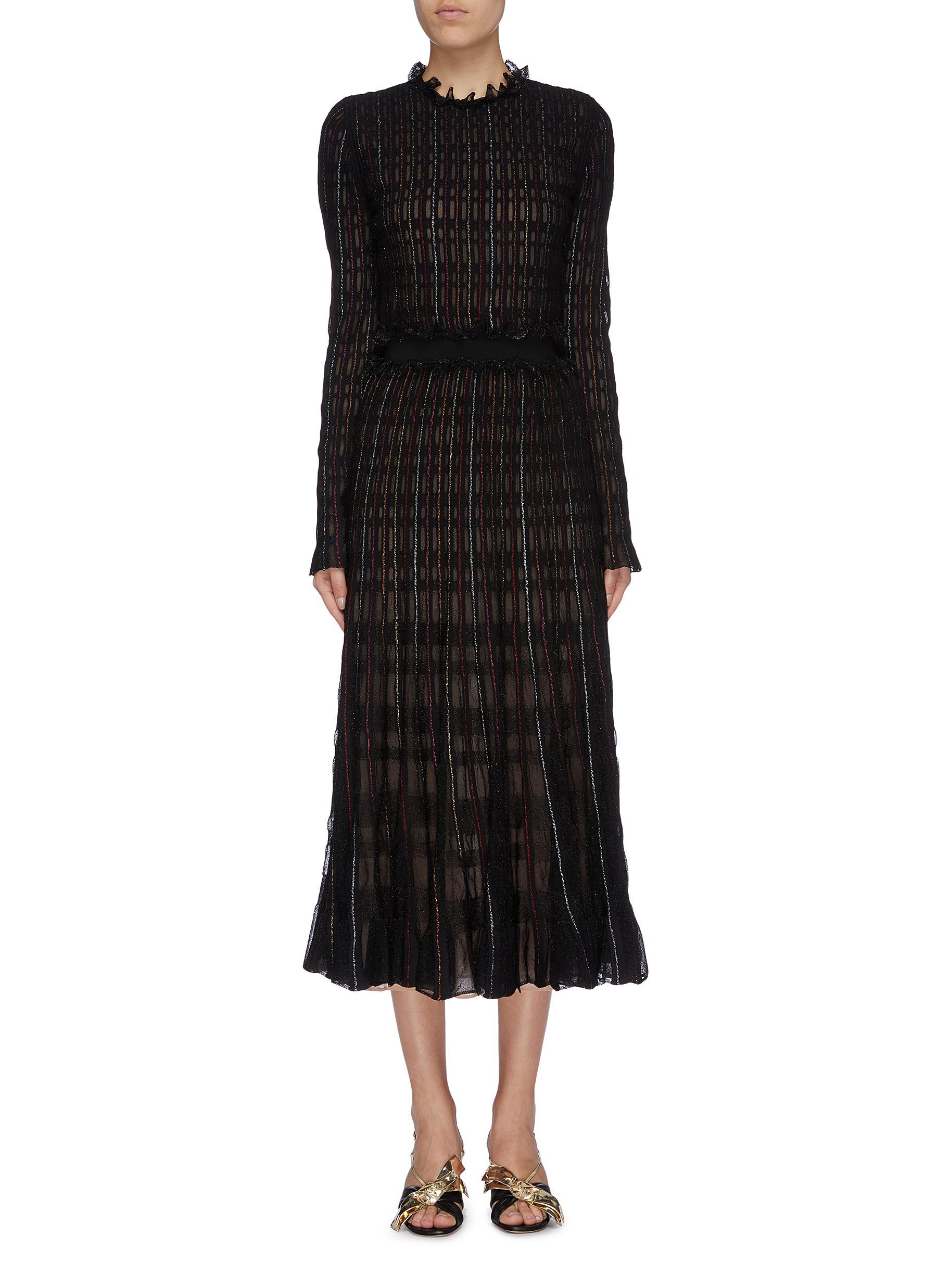 Metallic check ruffle trim knit dress by Alexander Mcqueen