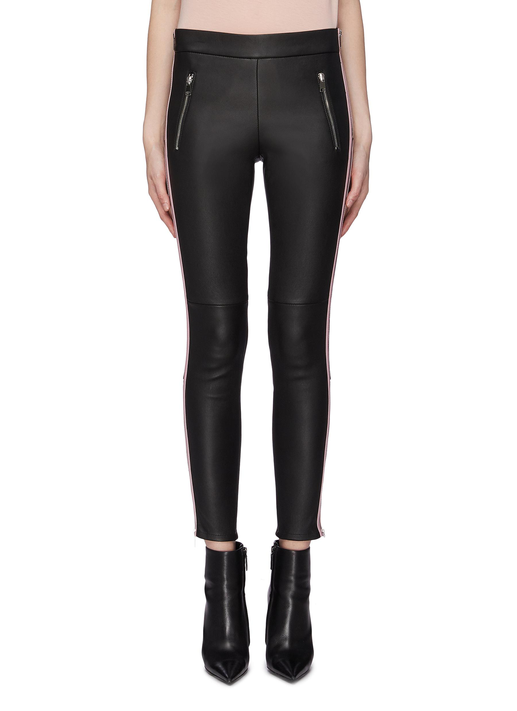 Stripe outseam leather pants by Alexander Mcqueen