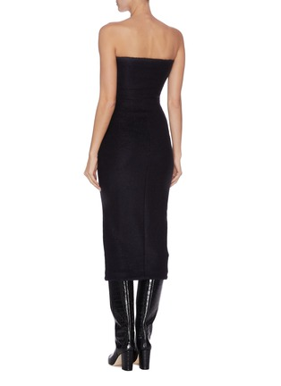 Back View - Click To Enlarge - ZAID AFFAS - Mohair strapless hourglass bodycon dress