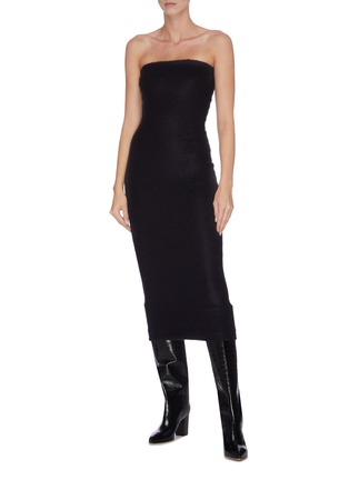 Figure View - Click To Enlarge - ZAID AFFAS - Mohair strapless hourglass bodycon dress