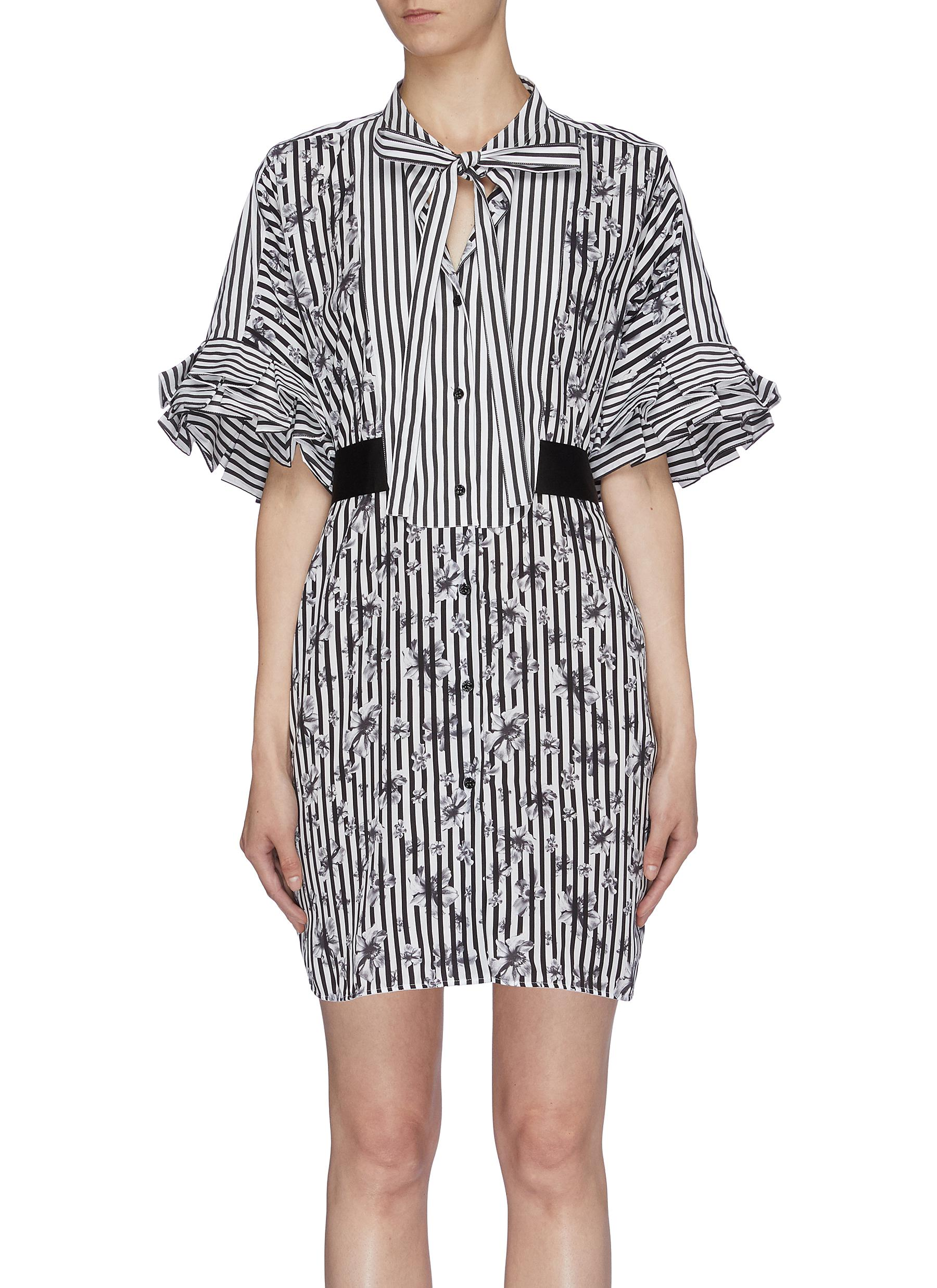 Tie neck floral print stripe shirt dress by Neil Barrett