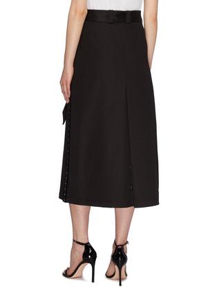 Back View - Click To Enlarge - NEIL BARRETT - Belted hook outseam layered gabardine midi skirt