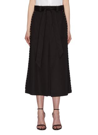 Main View - Click To Enlarge - NEIL BARRETT - Belted hook outseam layered gabardine midi skirt