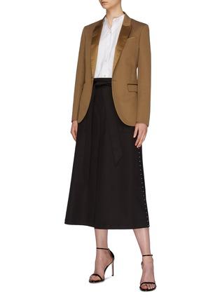 Figure View - Click To Enlarge - NEIL BARRETT - Belted hook outseam layered gabardine midi skirt