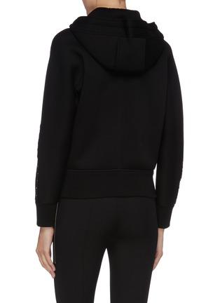 Back View - Click To Enlarge - NEIL BARRETT - 'Travel' hook trim scuba jersey zip hoodie