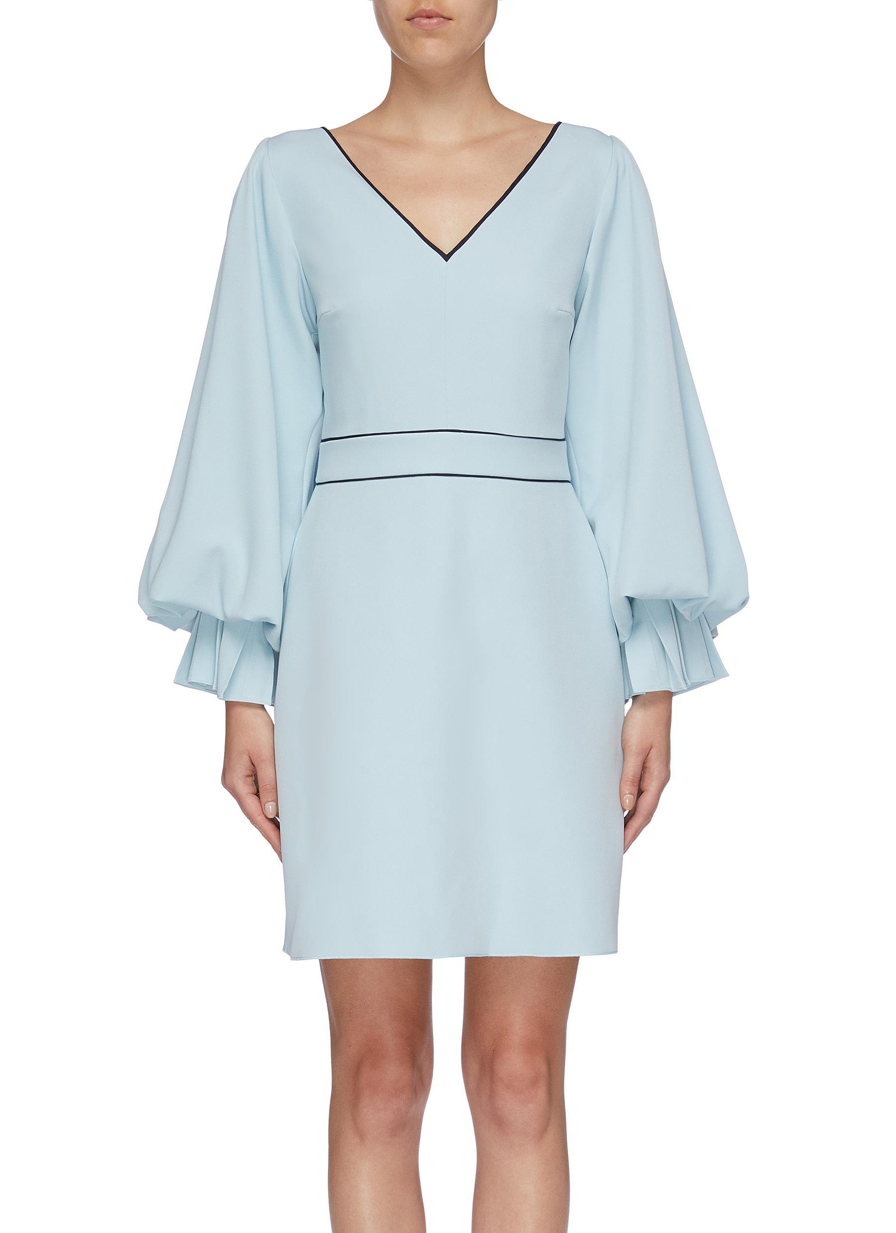 Darie tie back bishop sleeve crepe dress by Roksanda