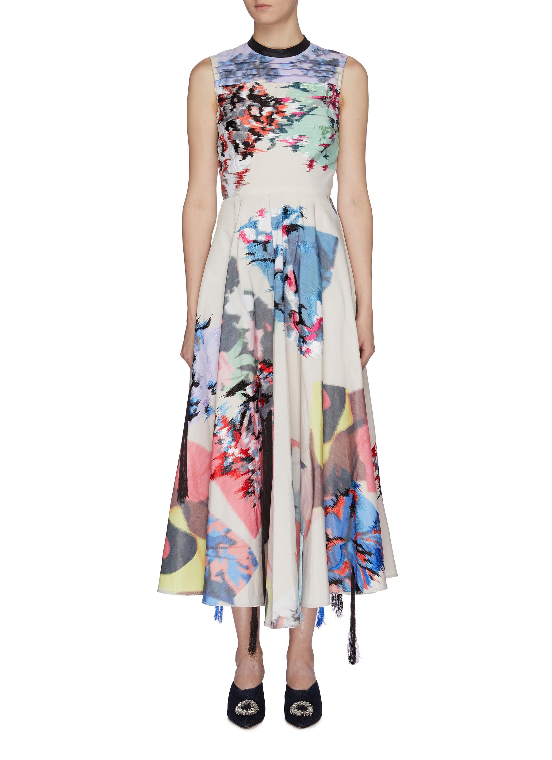 Larura fringe pleated floral print sleeveless dress by Roksanda