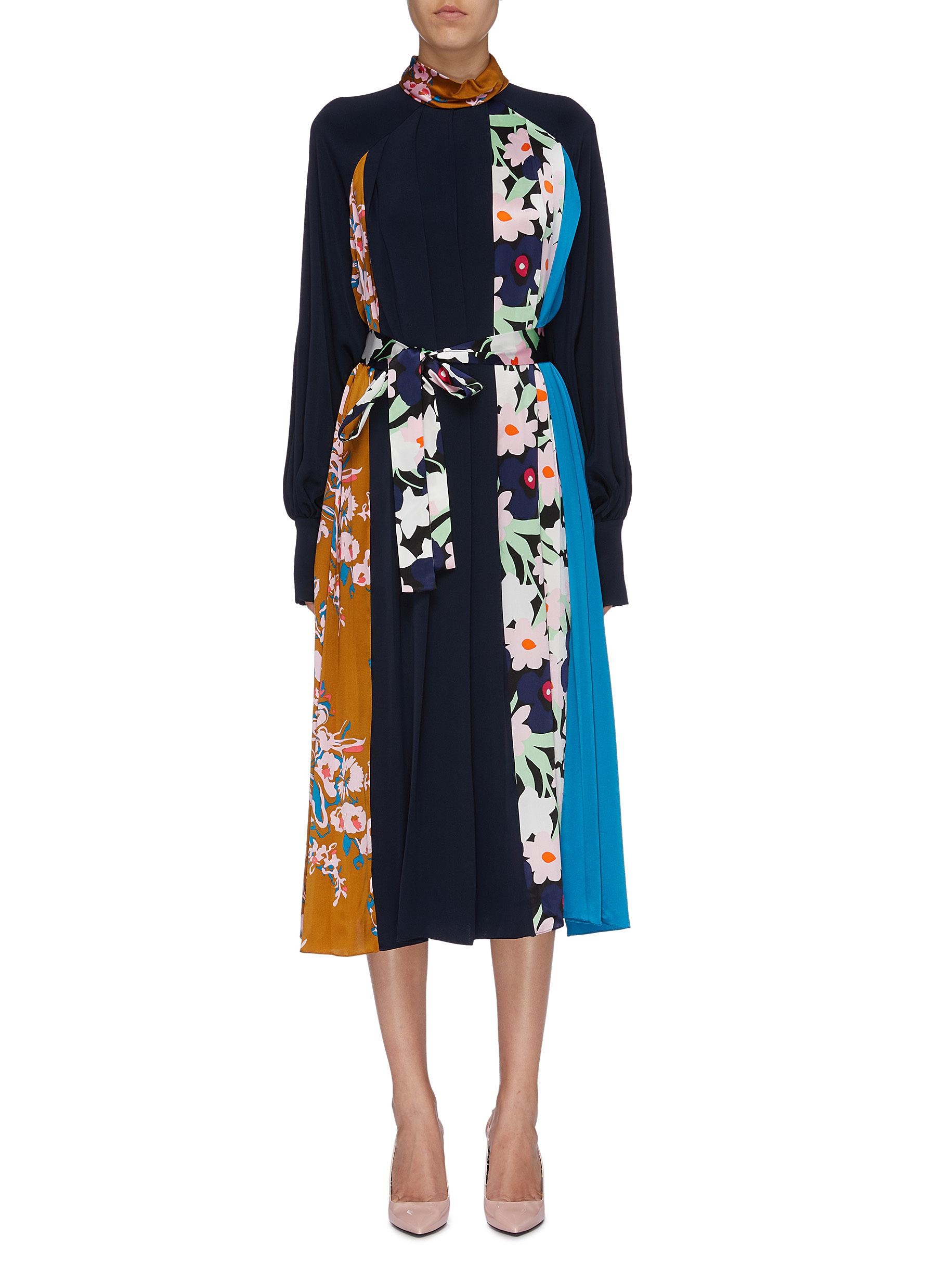 Afisa belted floral print patchwork pleated silk dress by Roksanda