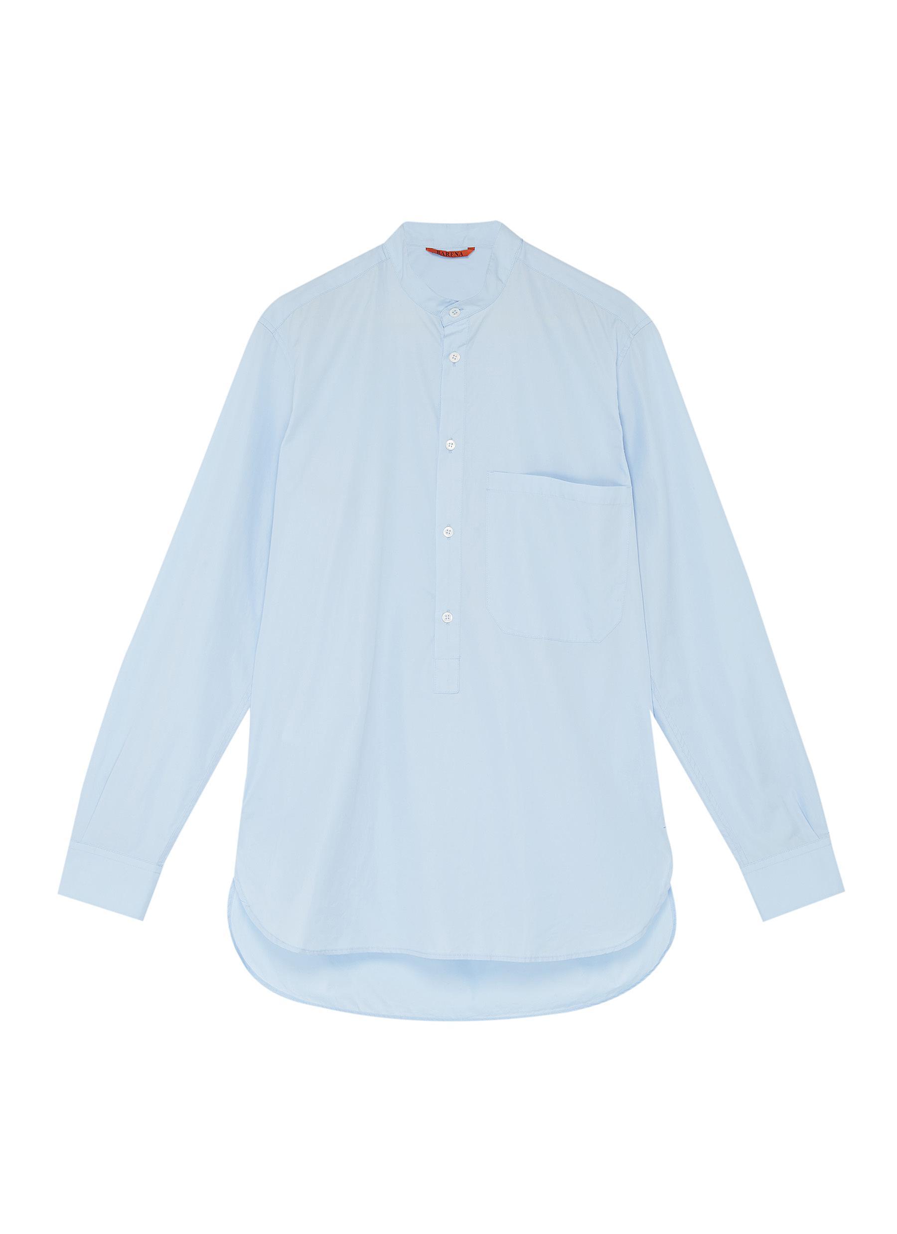 Barena Venezia Mandarin Collar Half Button Placket Shirt