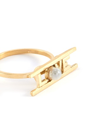 Detail View - Click To Enlarge - ROWELL CONCEPCION JEWELRY - 'Love' freshwater pearl 14k yellow gold slogan ring