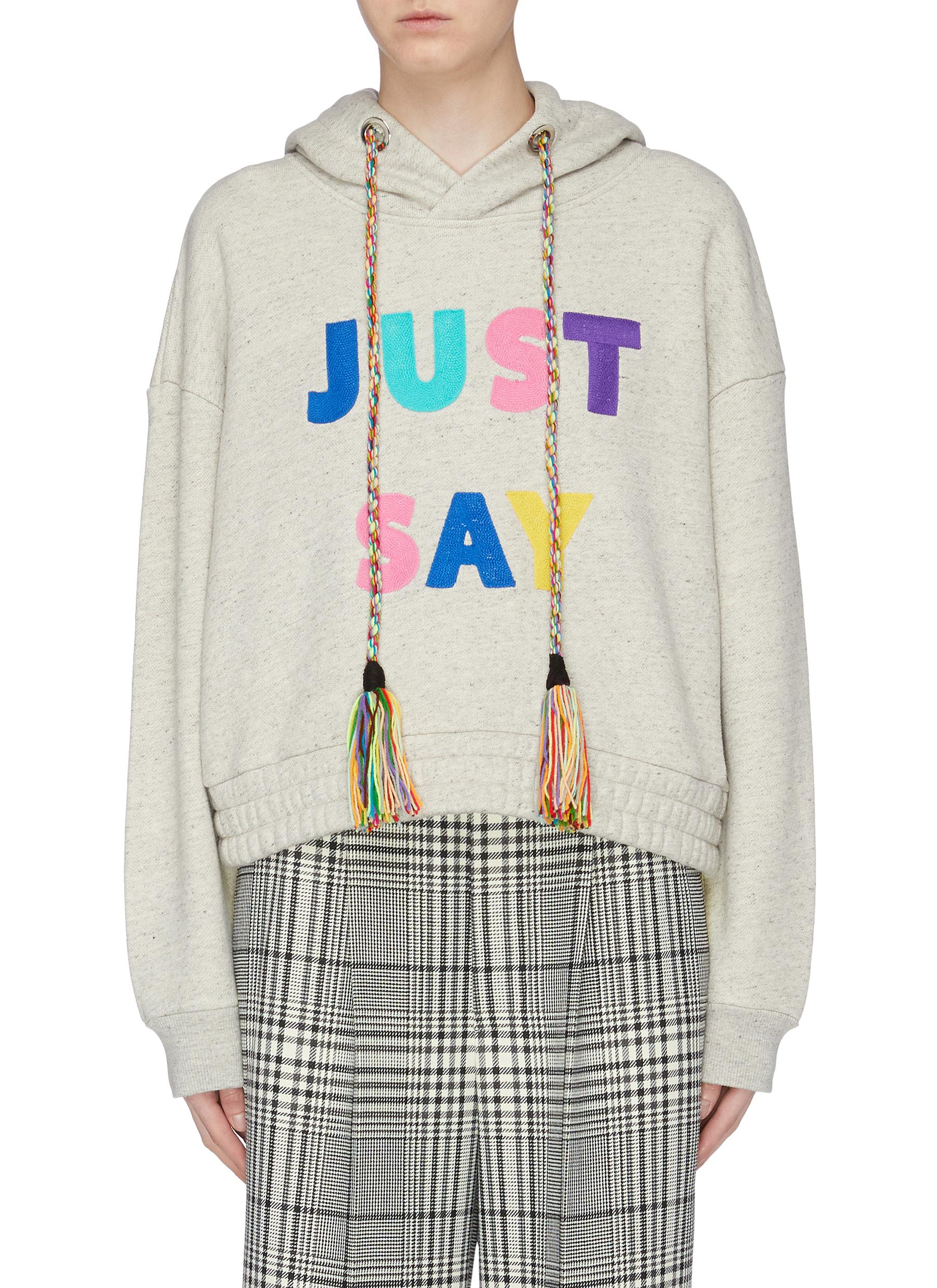 Just Say slogan patch hoodie by Mira Mikati